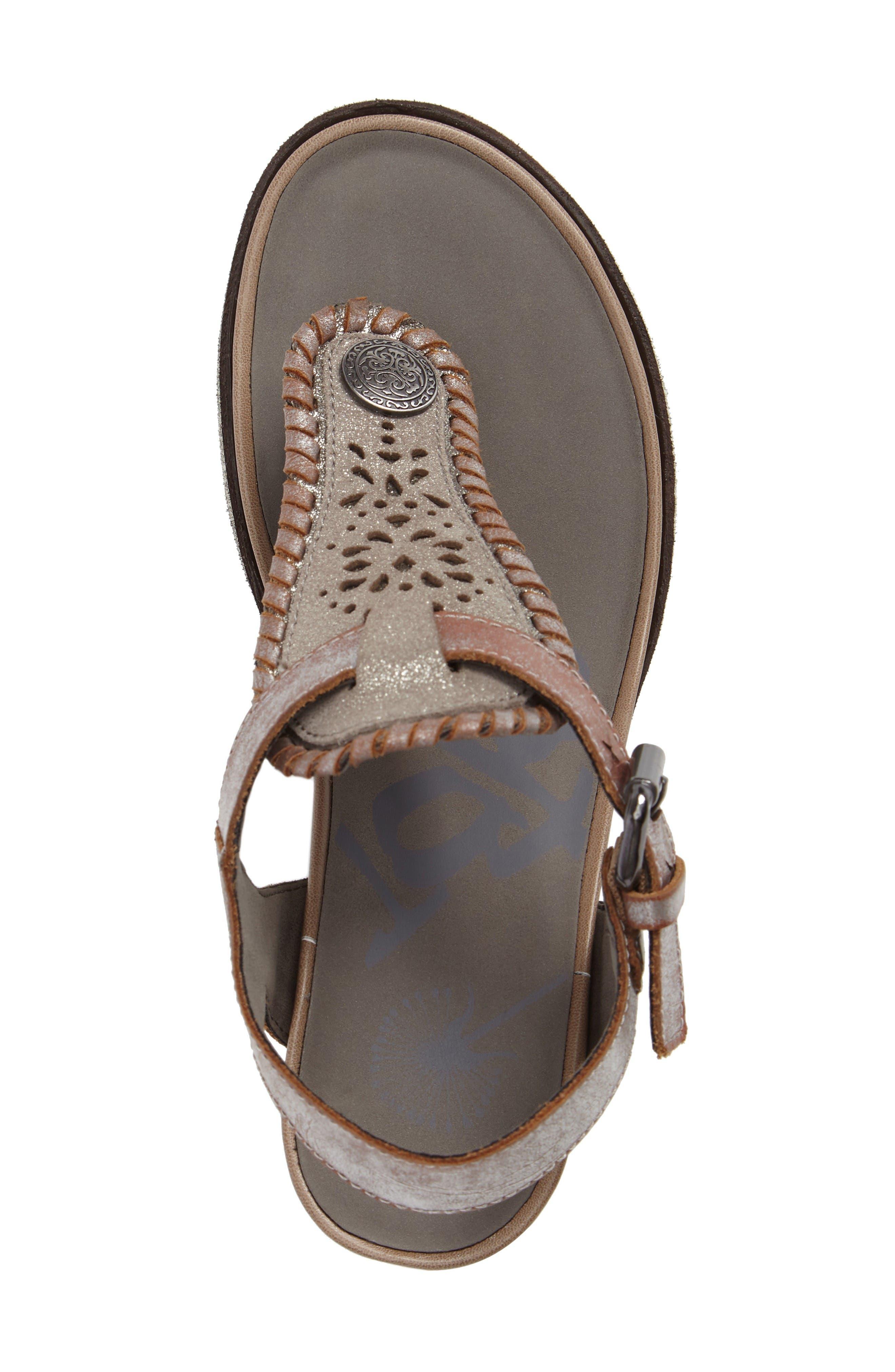 Excursion Wedge Sandal,                             Alternate thumbnail 5, color,                             Cloudburst Leather