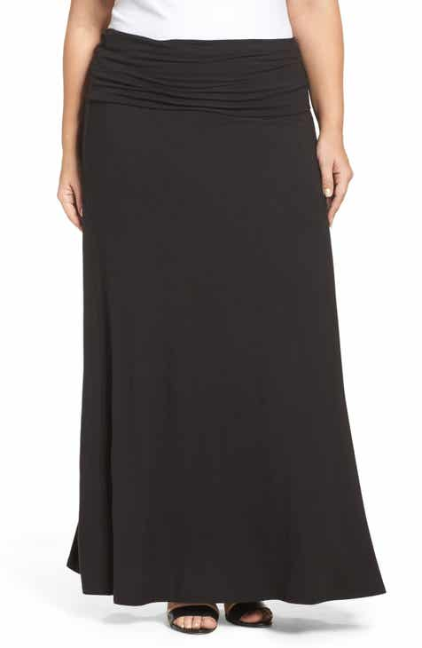 e0de9ac1541 Loveappella Fold Over Maxi Skirt (Plus Size)