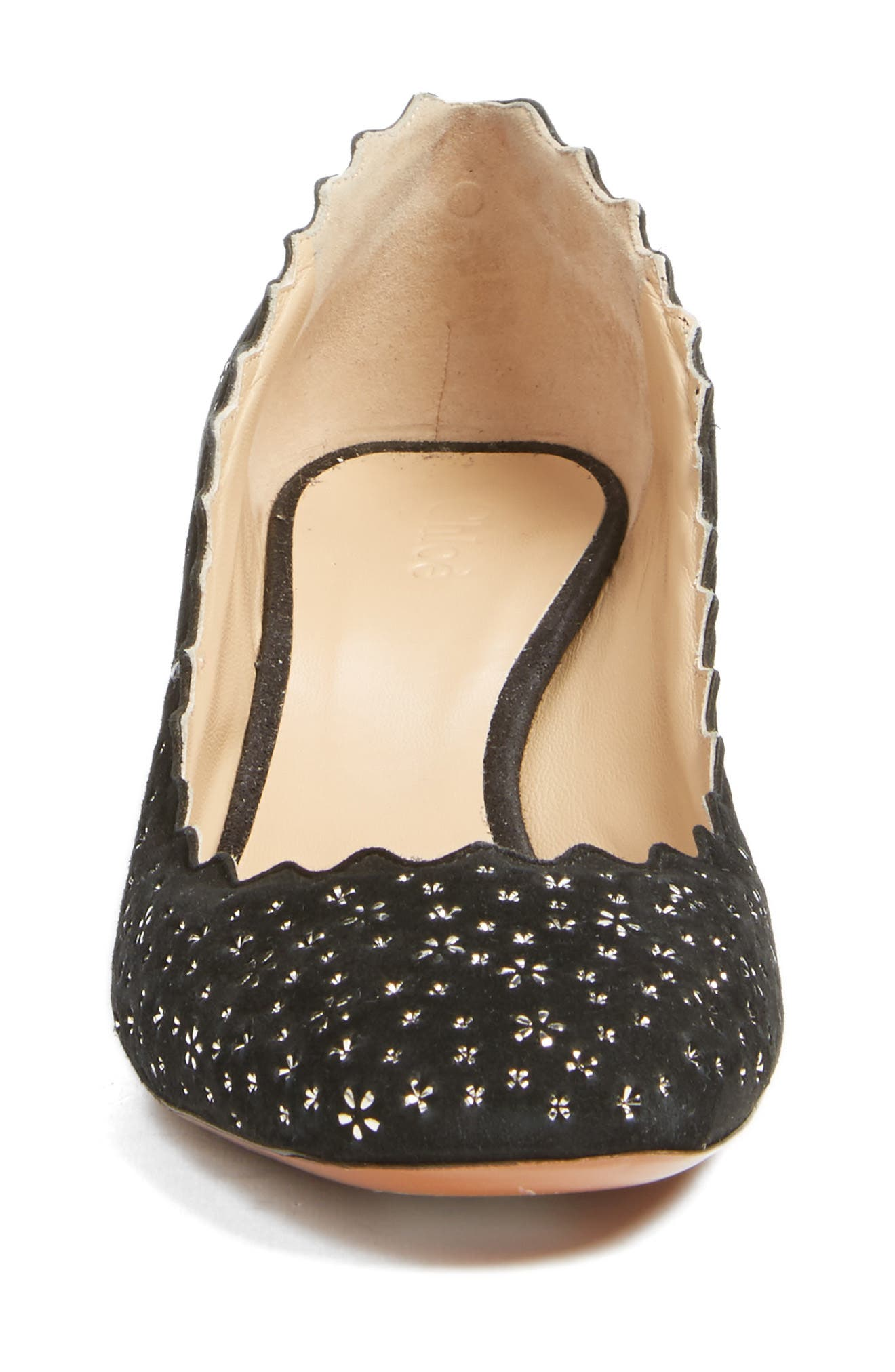Lauren Scalloped Pump,                             Alternate thumbnail 4, color,                             Black Floral