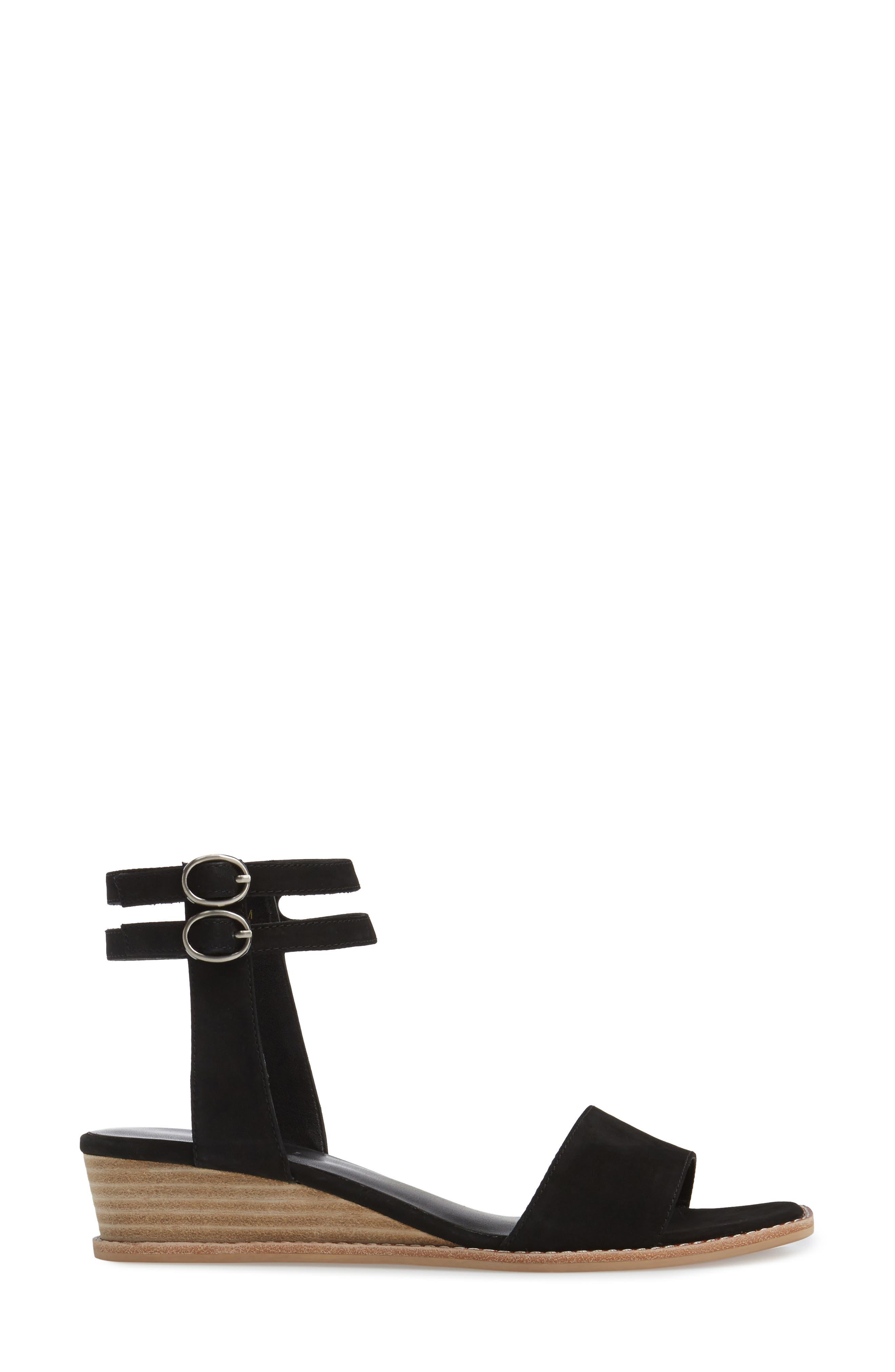 Jarita Ankle Strap Sandal,                             Alternate thumbnail 3, color,                             Black Leather