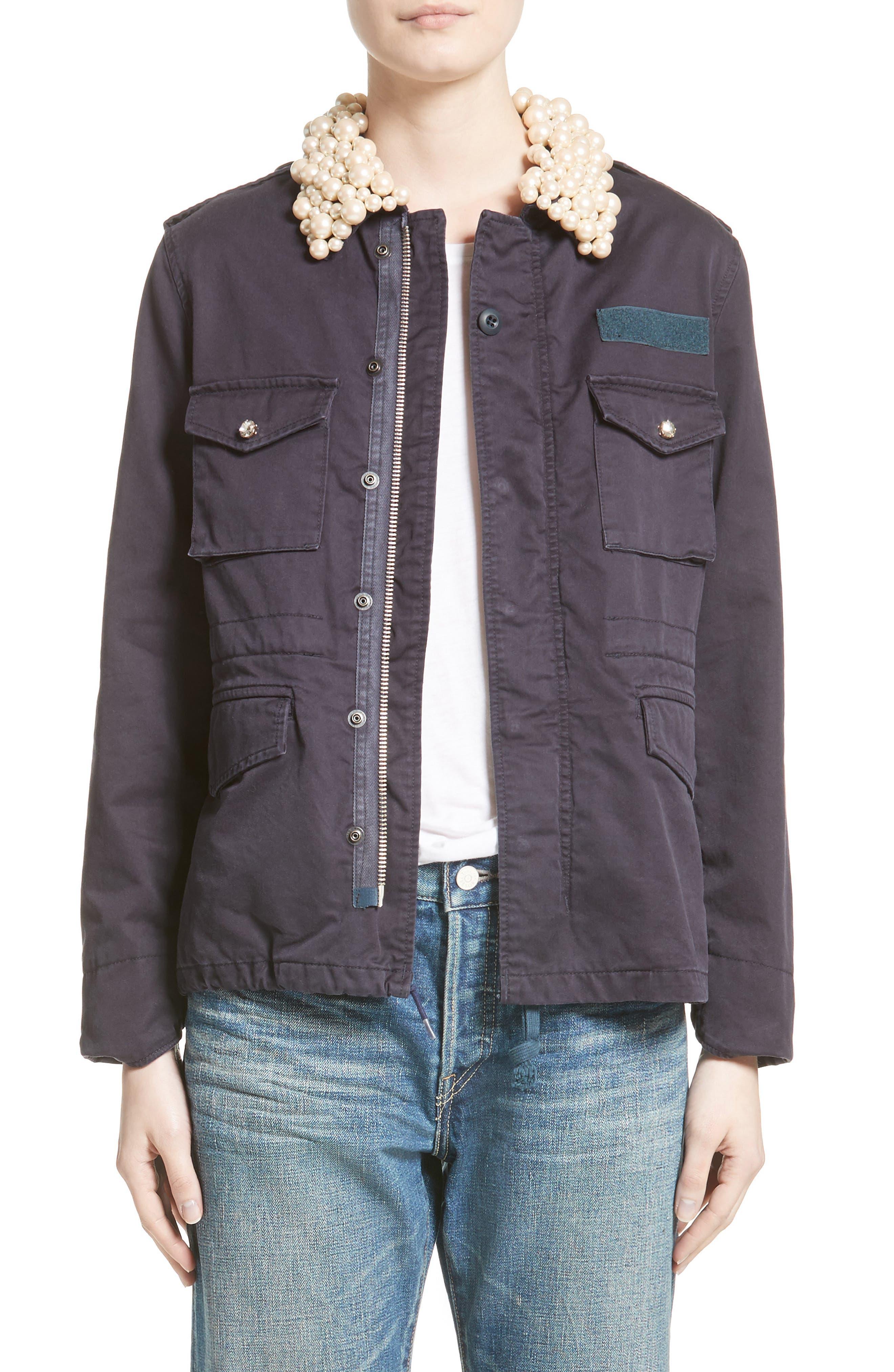 Tu es mon TR�_SOR Imitation Pearl Embellished Military Jacket - TU ES MON TRESOR