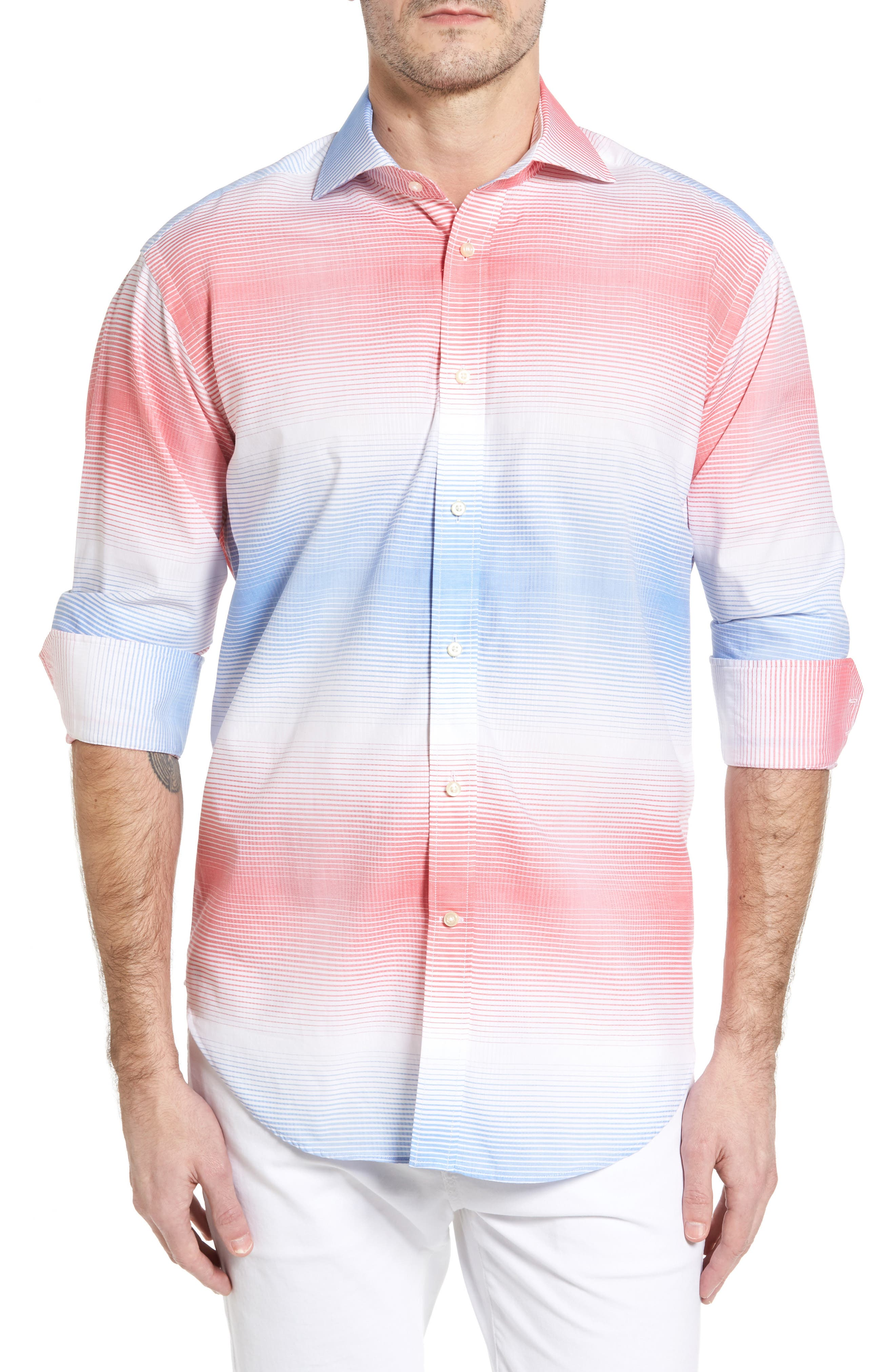 Classic Fit Graduated Check Sport Shirt,                         Main,                         color, Light Blue
