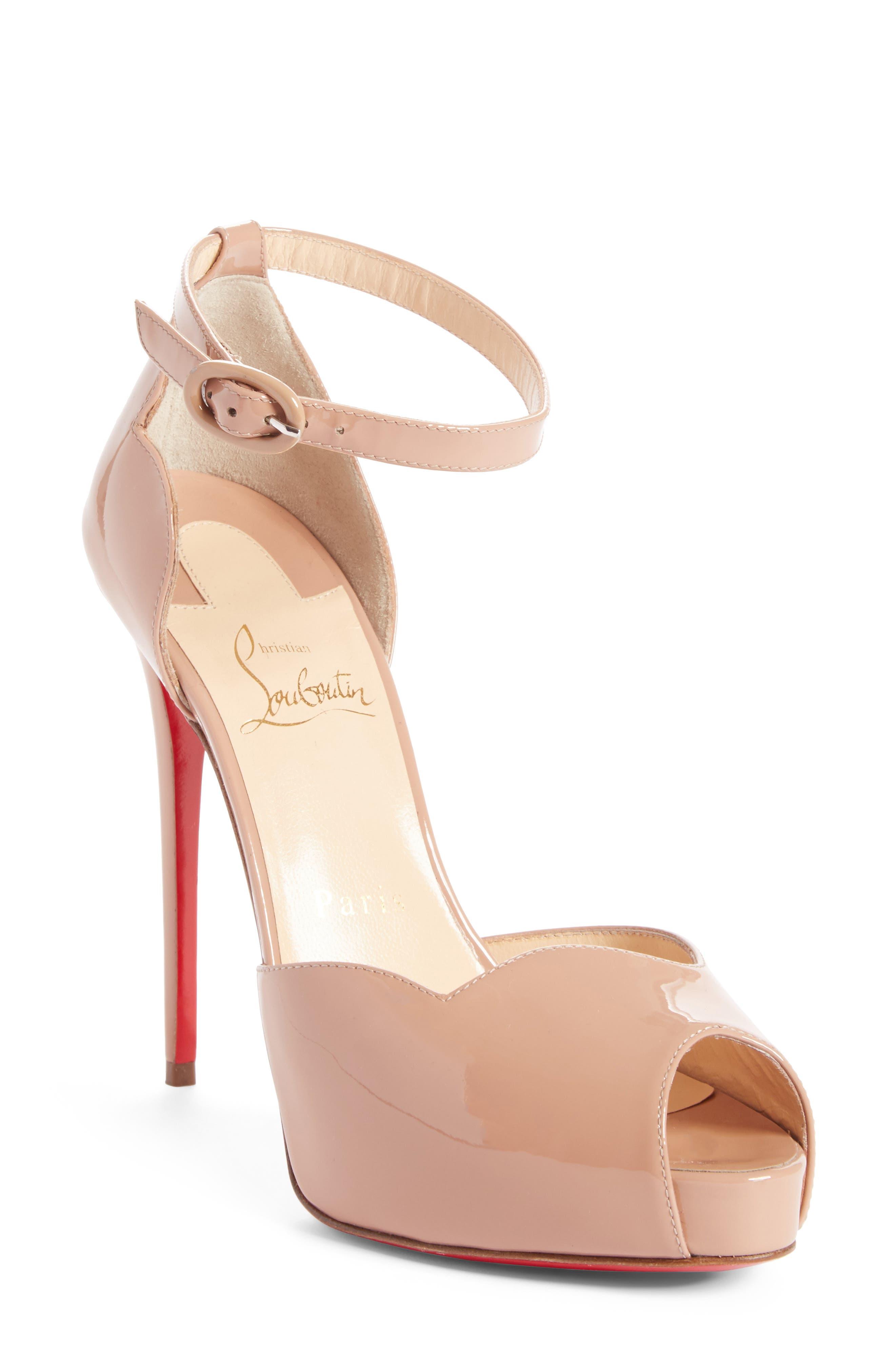 christian louboutin beige high heels