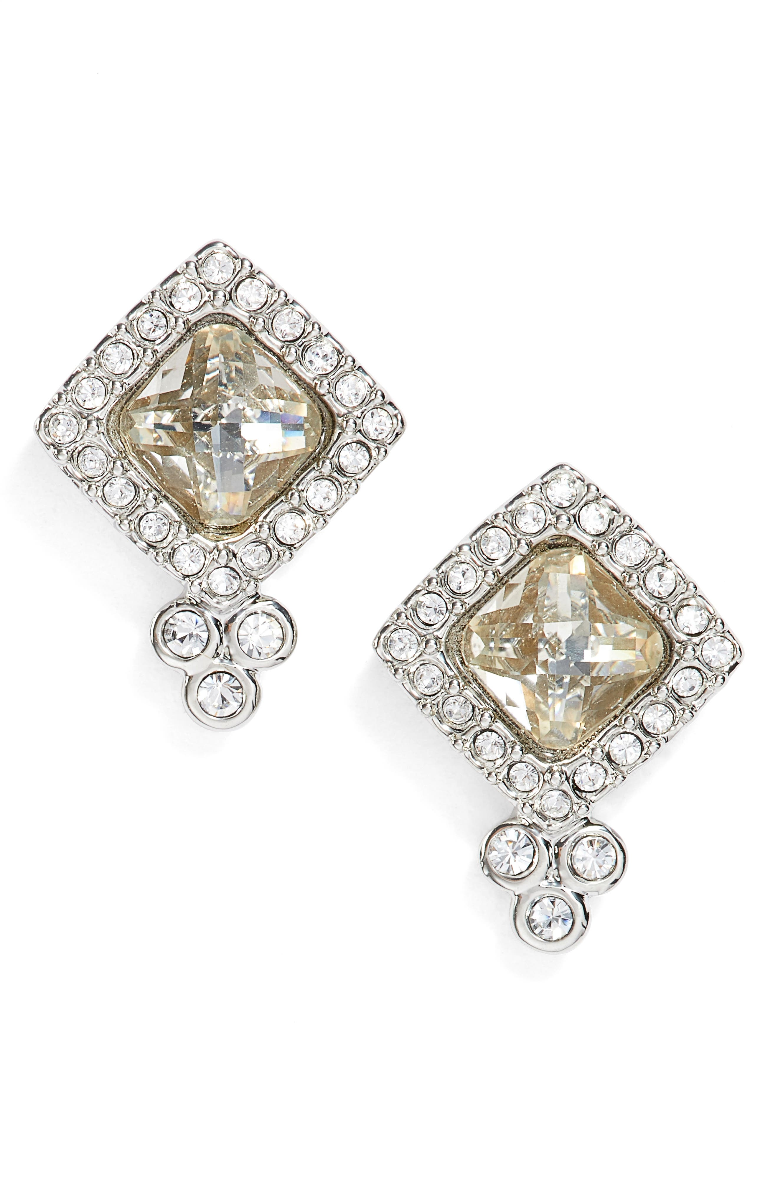Glistening Shadows Cushion Stud Earrings,                         Main,                         color, Silver