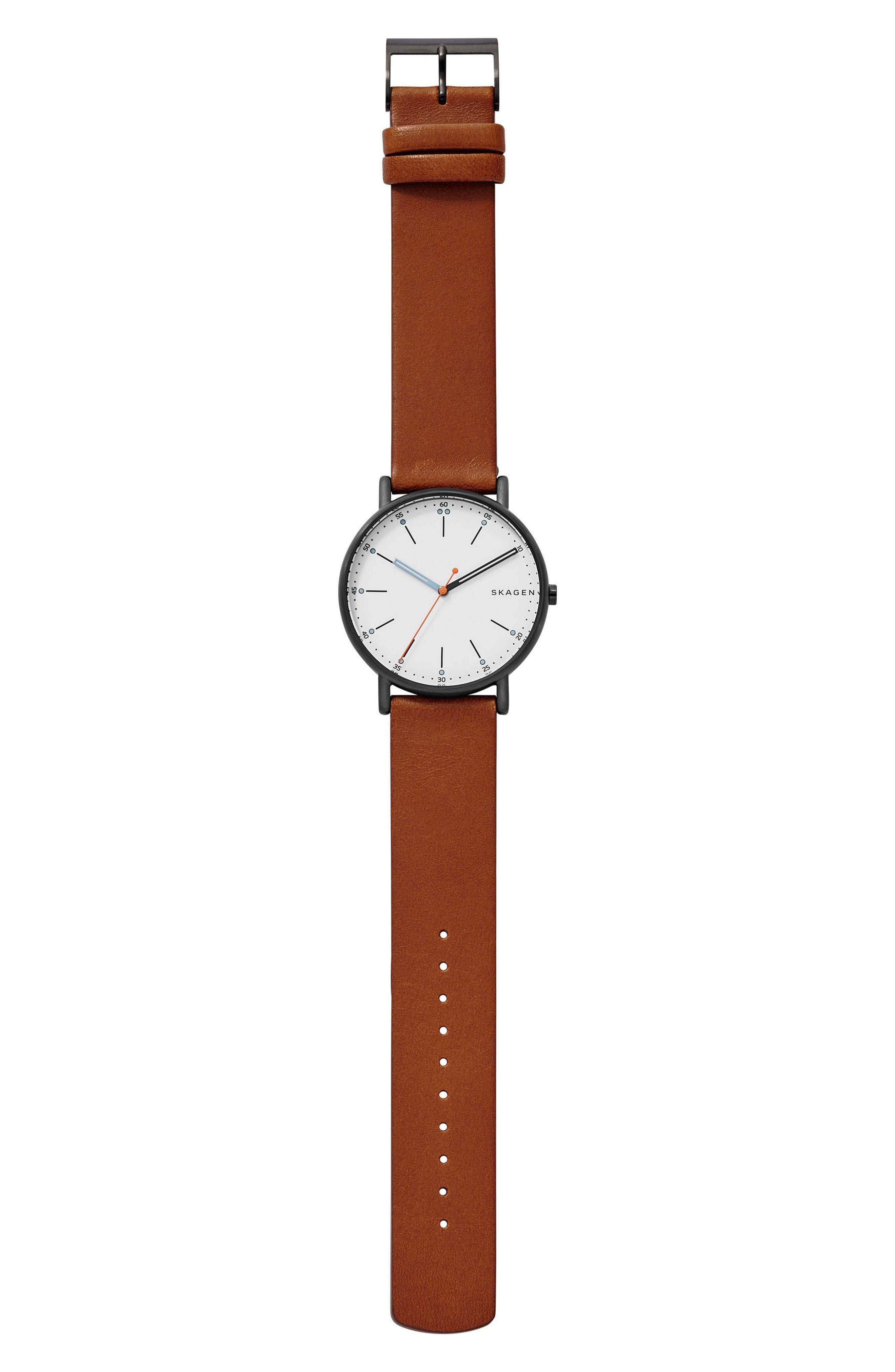 Signatur Leather Strap Watch, 40mm,                             Alternate thumbnail 2, color,                             Brown/ White/ Black