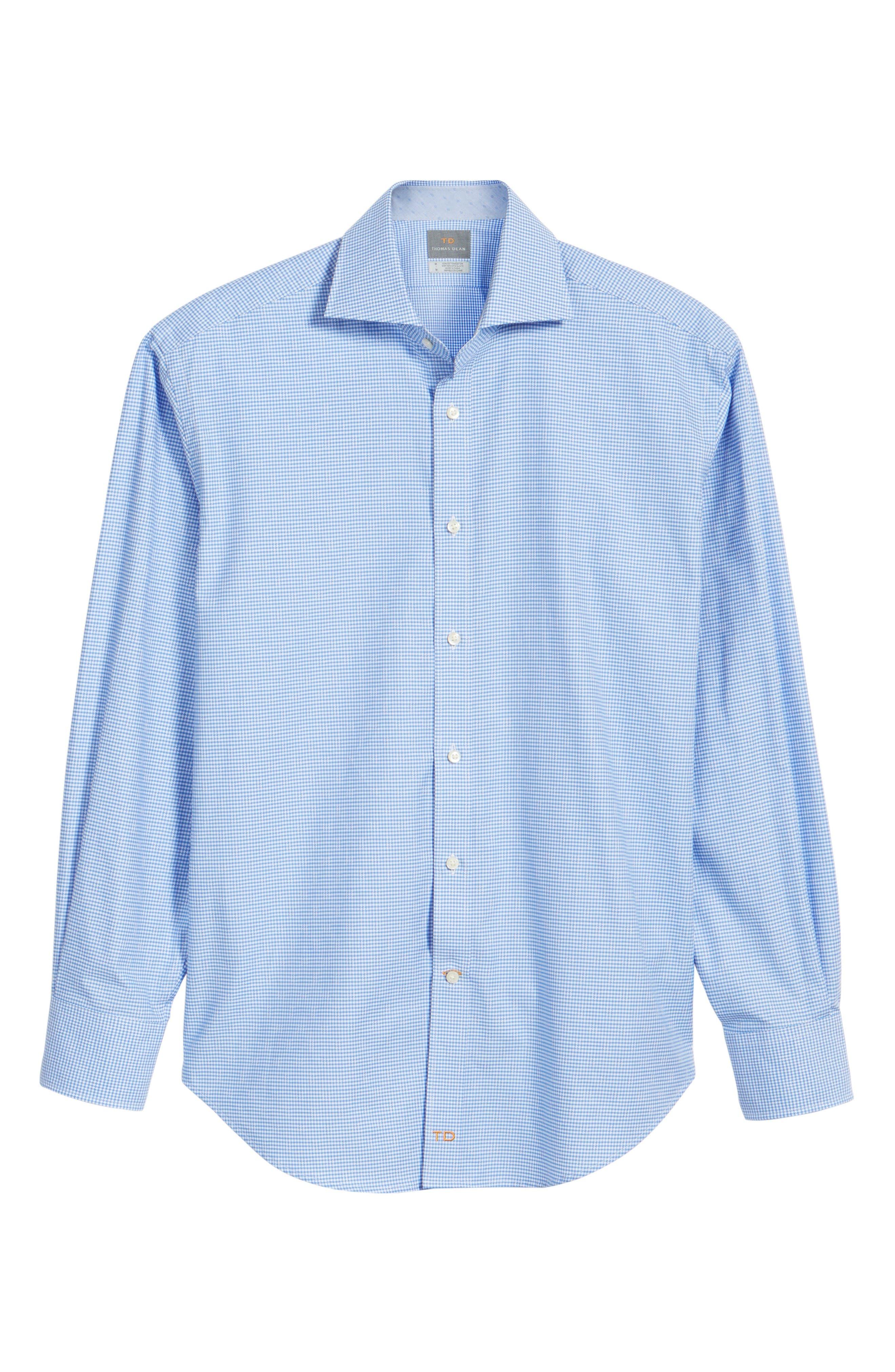 Classic Fit Mini Check Sport Shirt,                             Alternate thumbnail 6, color,                             Blue