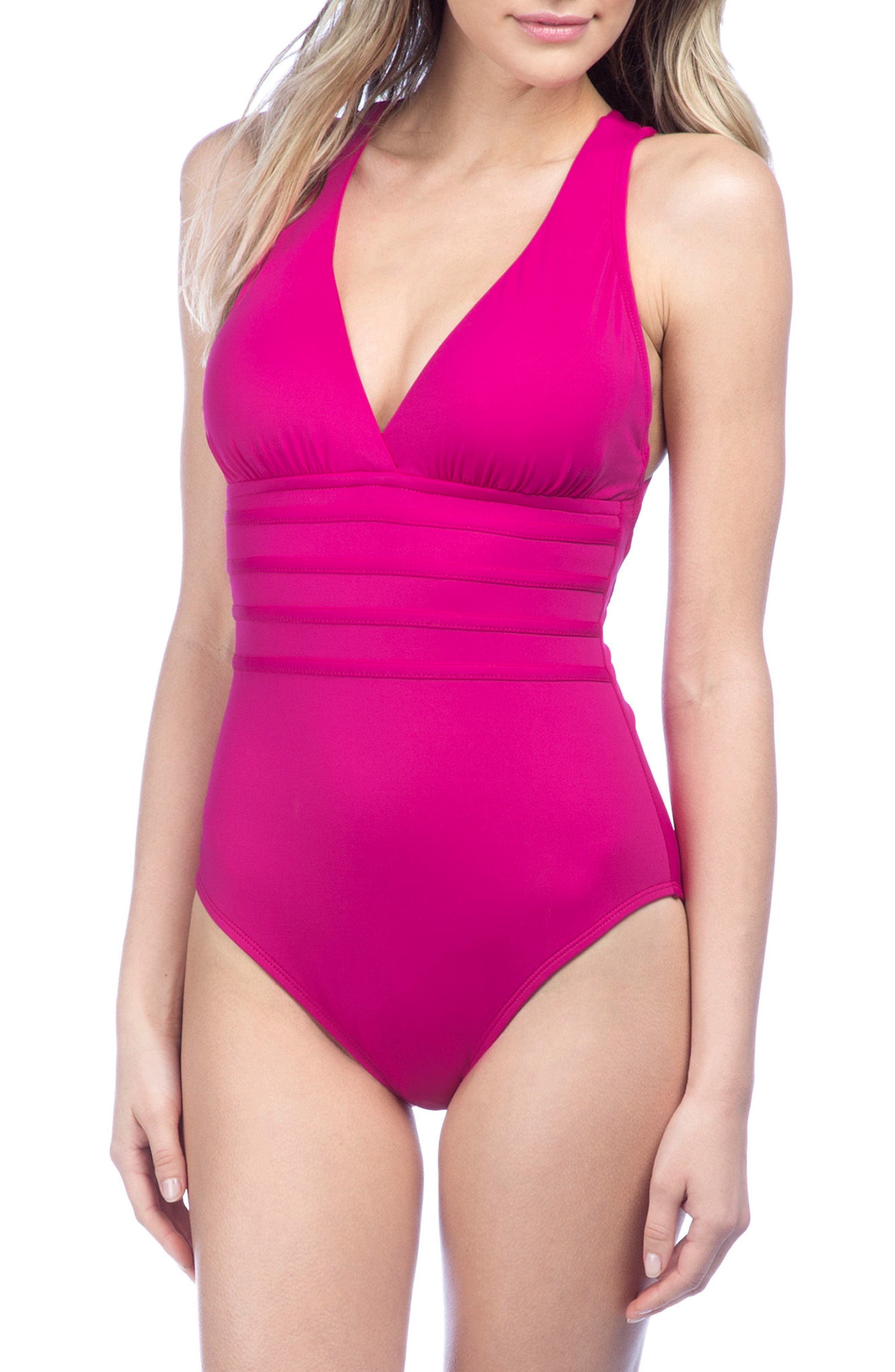 Cross Back One-Piece Swimsuit,                         Main,                         color, Berry