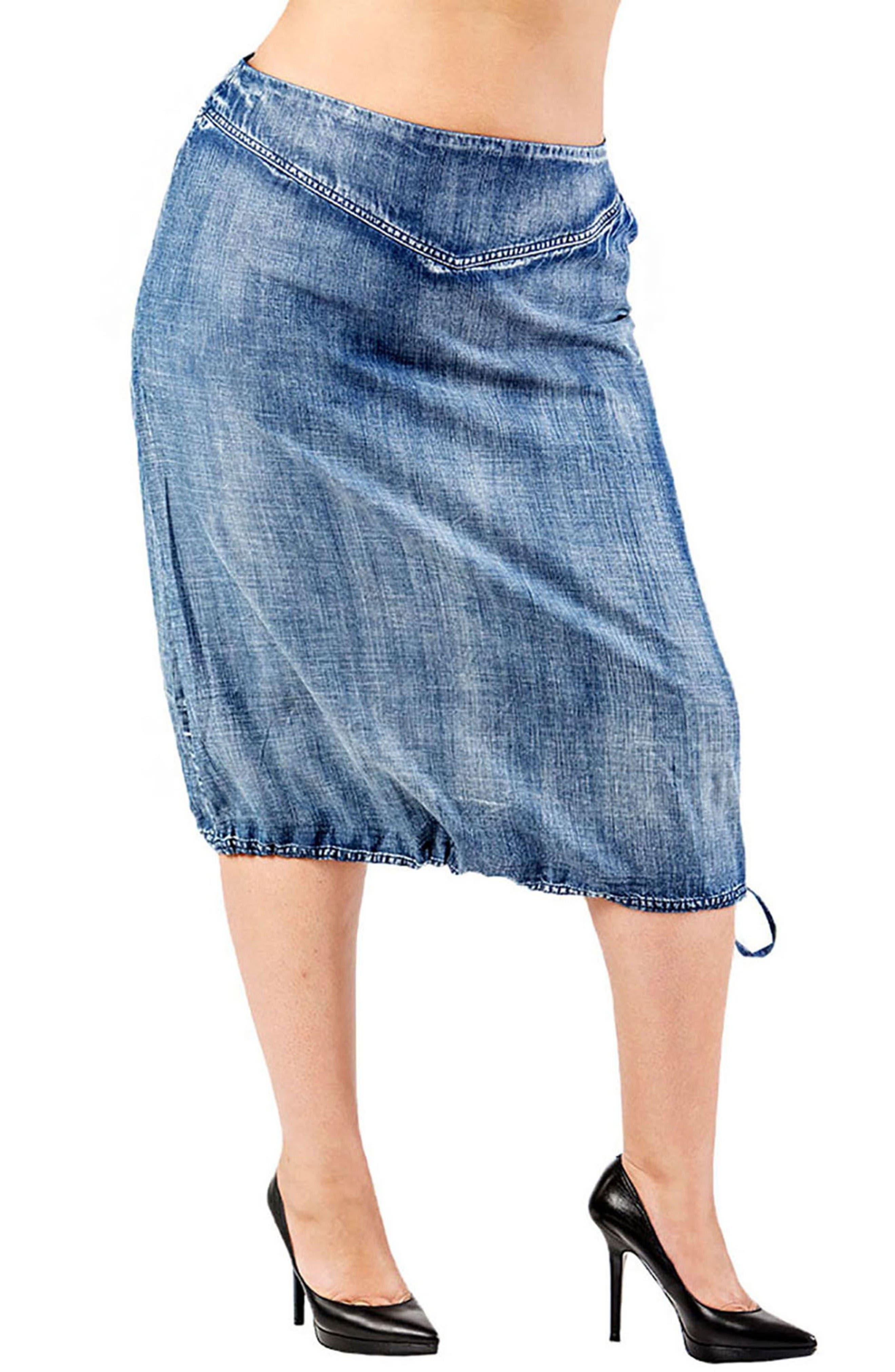 Drawstring Hem Tencel<sup>®</sup>Lyocell Skirt,                         Main,                         color, Blue