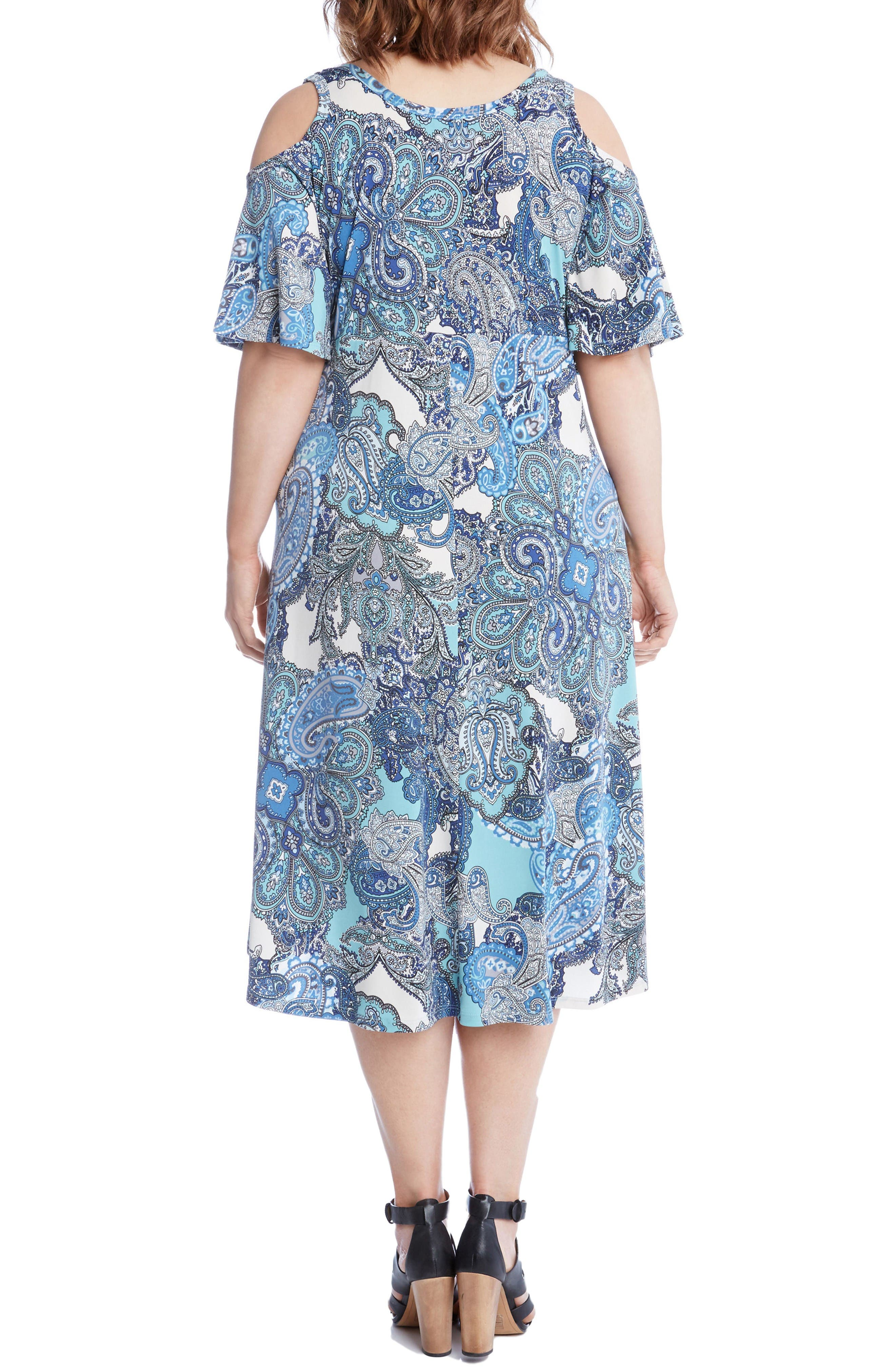 Alternate Image 2  - Karen Kane Cold Shoulder Paisley Midi Dress (Plus Size)