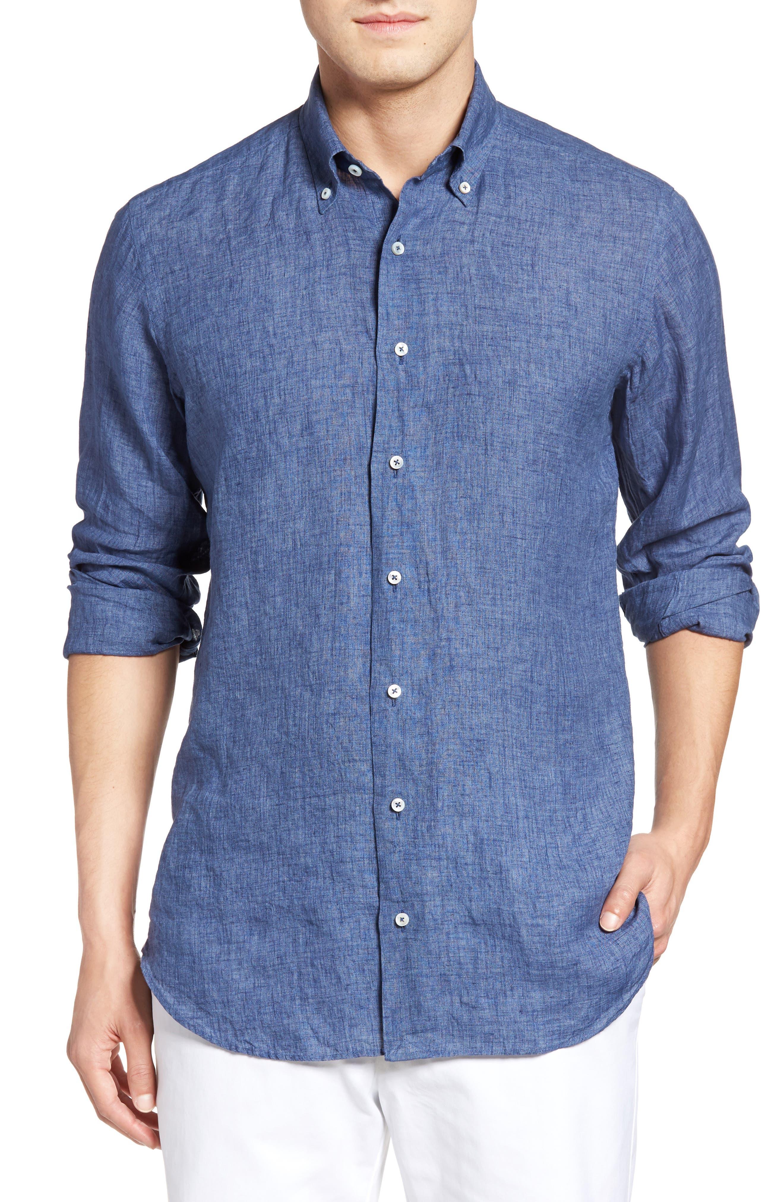 Estate Tailored Fit Sport Shirt,                         Main,                         color, Denim