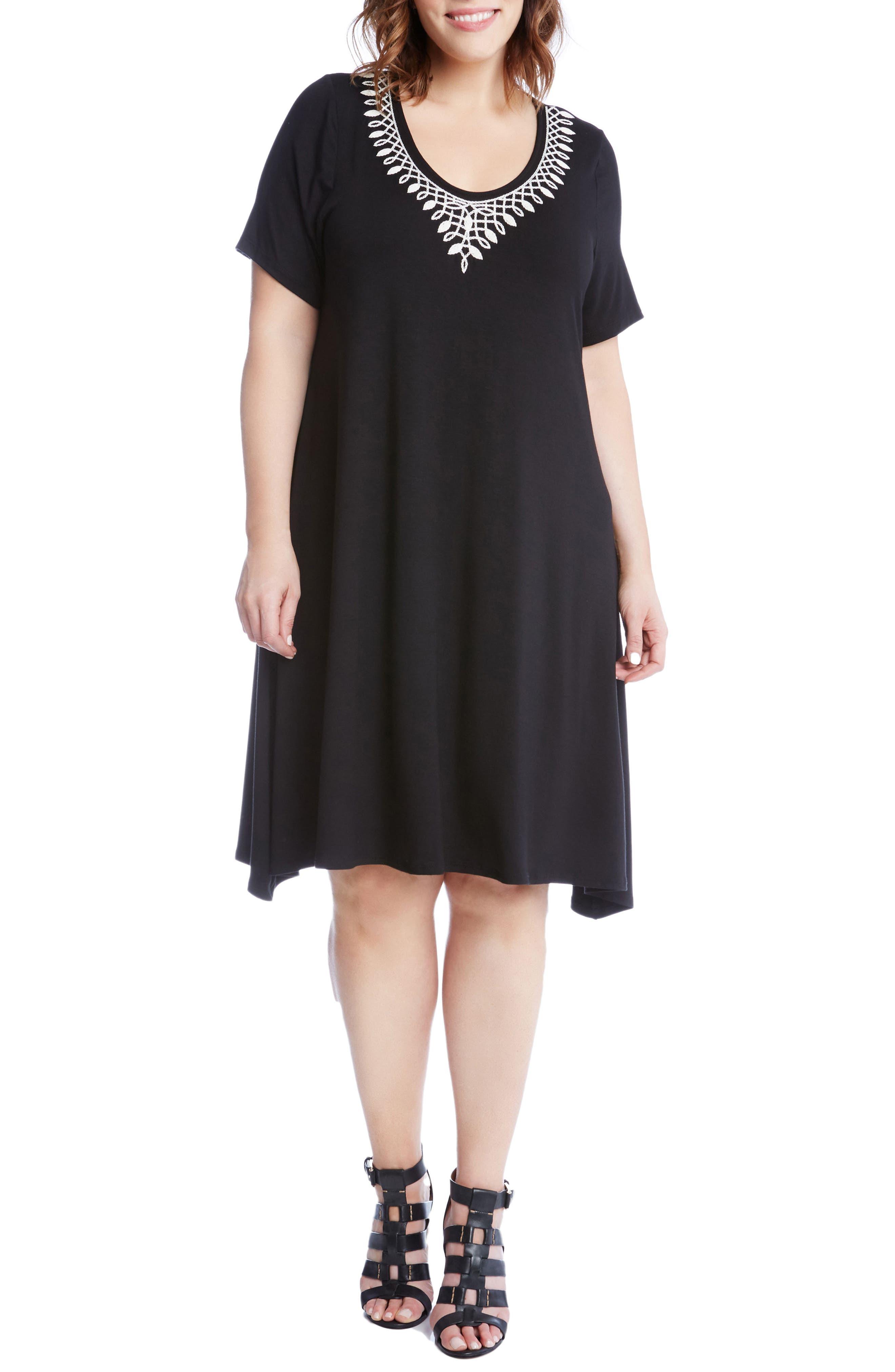 Karen Kane Embroidered Handkerchief Hem Dress (Plus Size)
