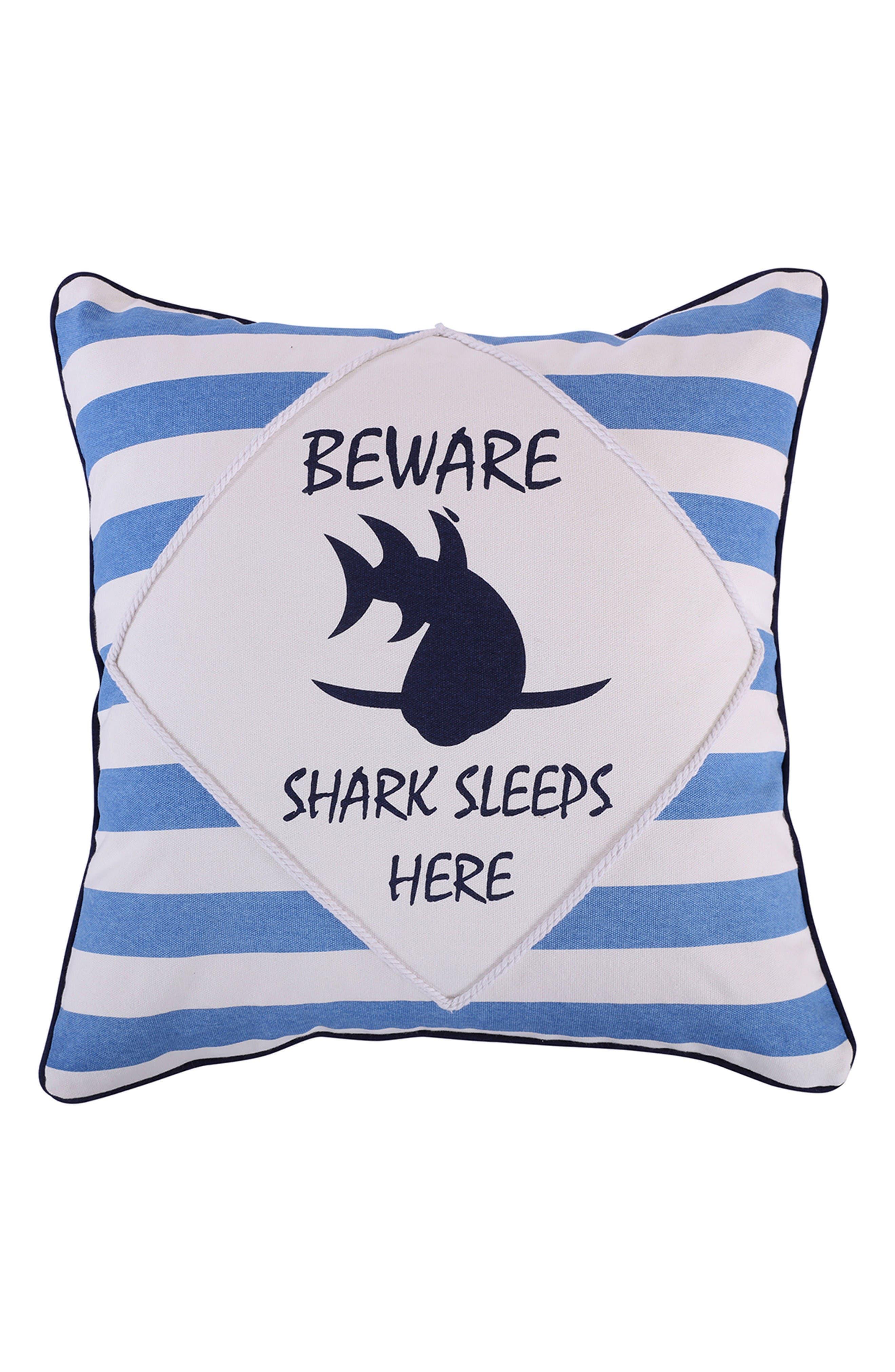 Nolan Shark Pillow,                             Main thumbnail 1, color,                             Blue