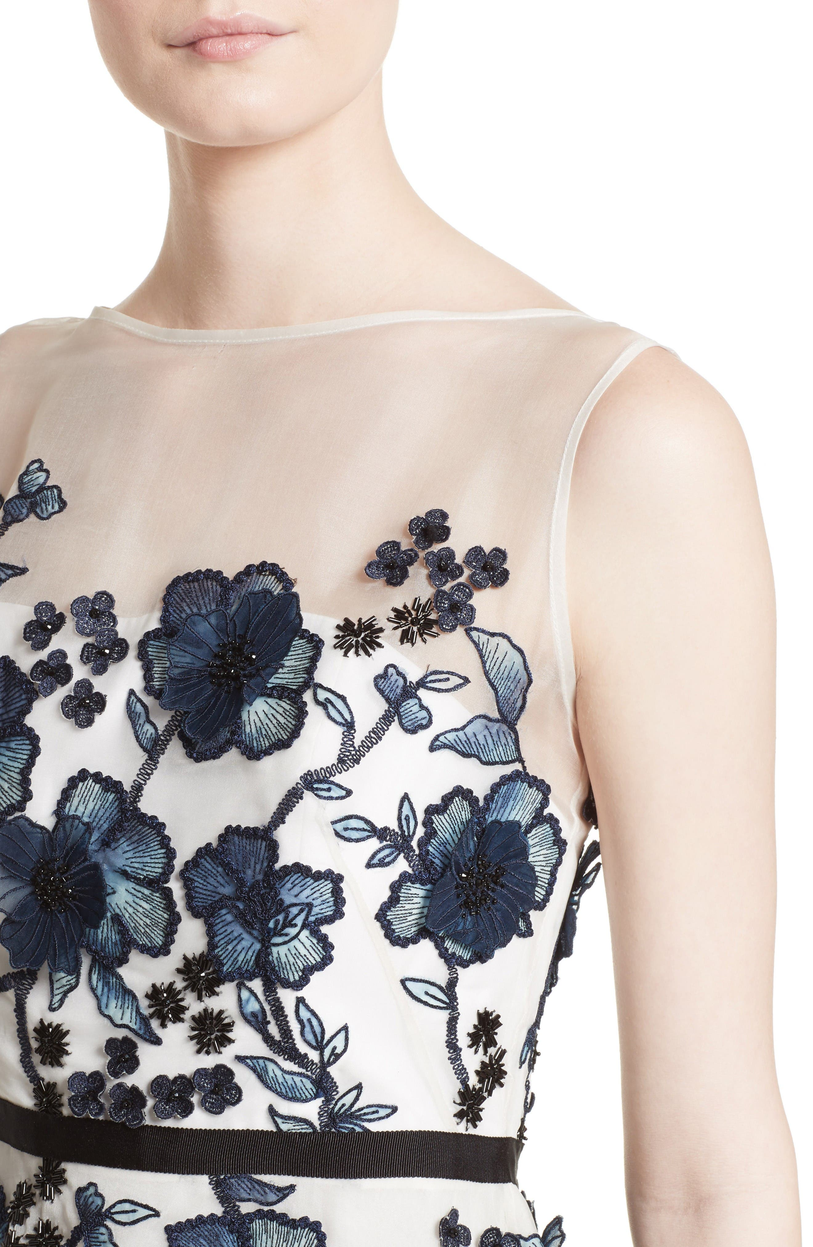 Floral Embroidered Dress,                             Alternate thumbnail 6, color,                             Navy/ Ivory