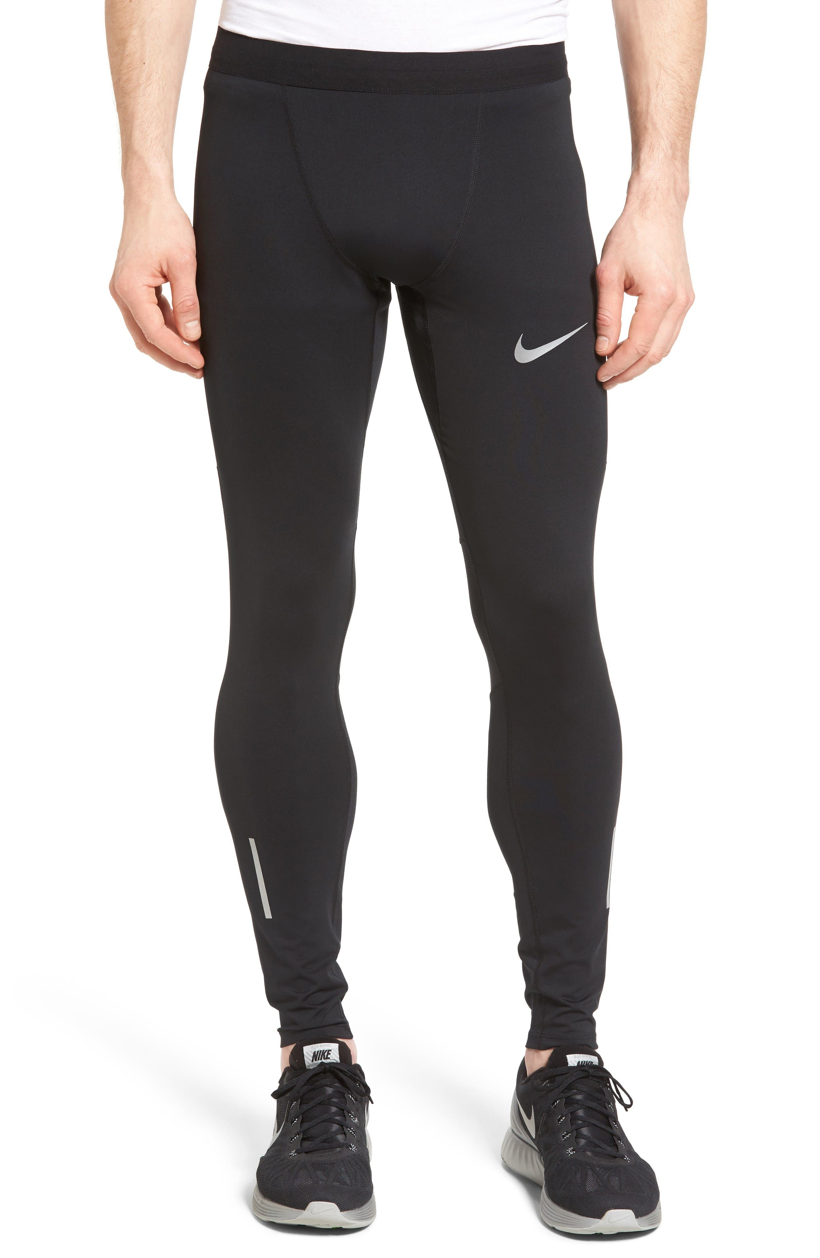 Power Tech Running Tights,                         Main,                         color, Black/ Pure Platinum