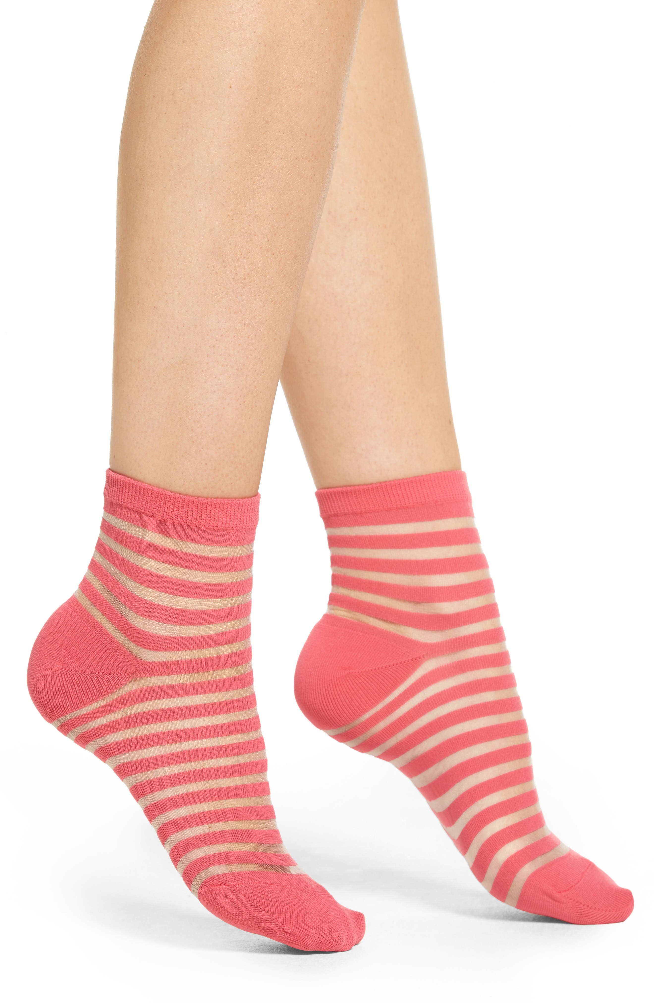 sheer stripe ankle socks,                         Main,                         color, Tile Pink