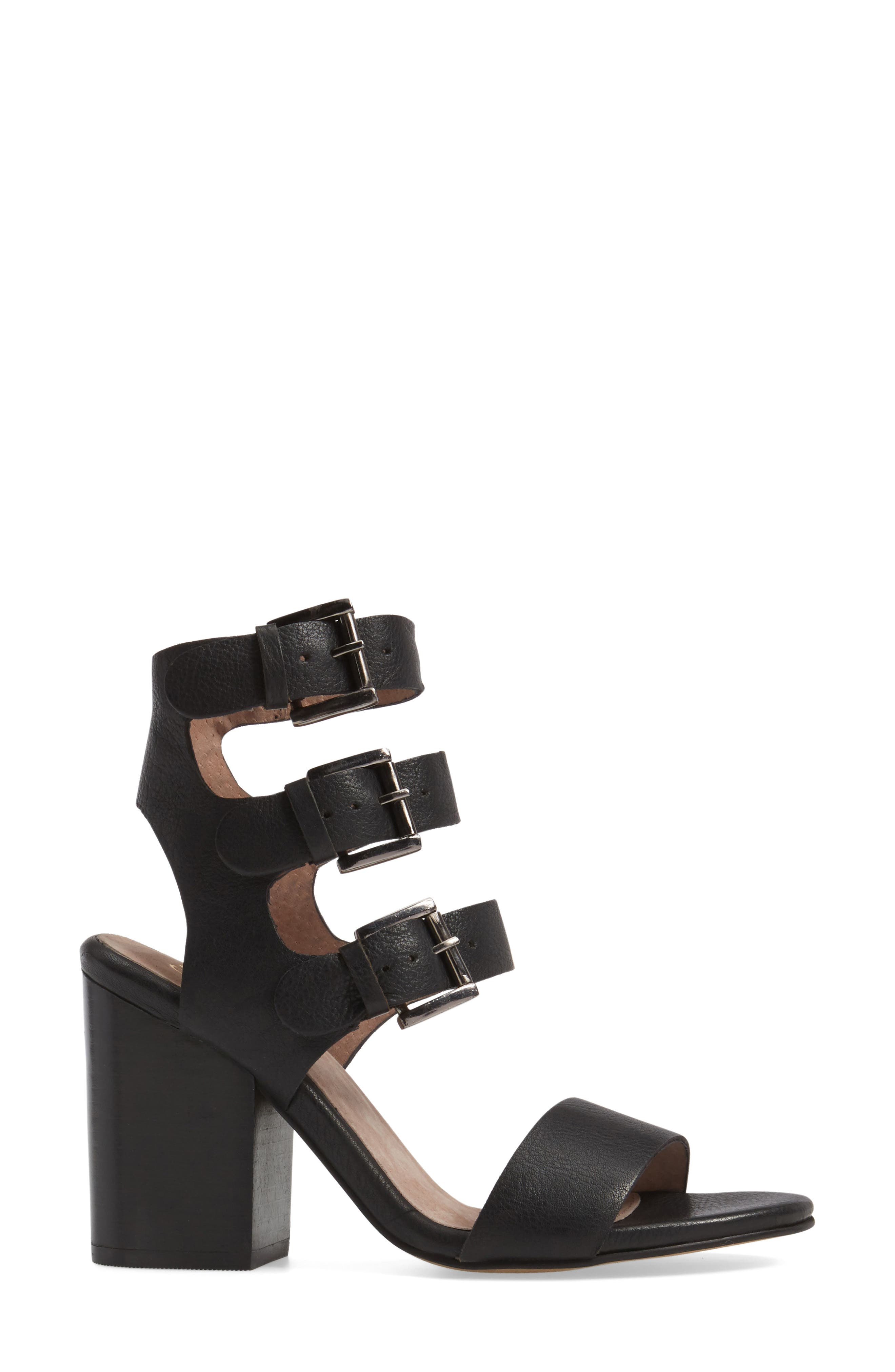 Dilly Dally Sandal,                             Alternate thumbnail 3, color,                             Black Leather