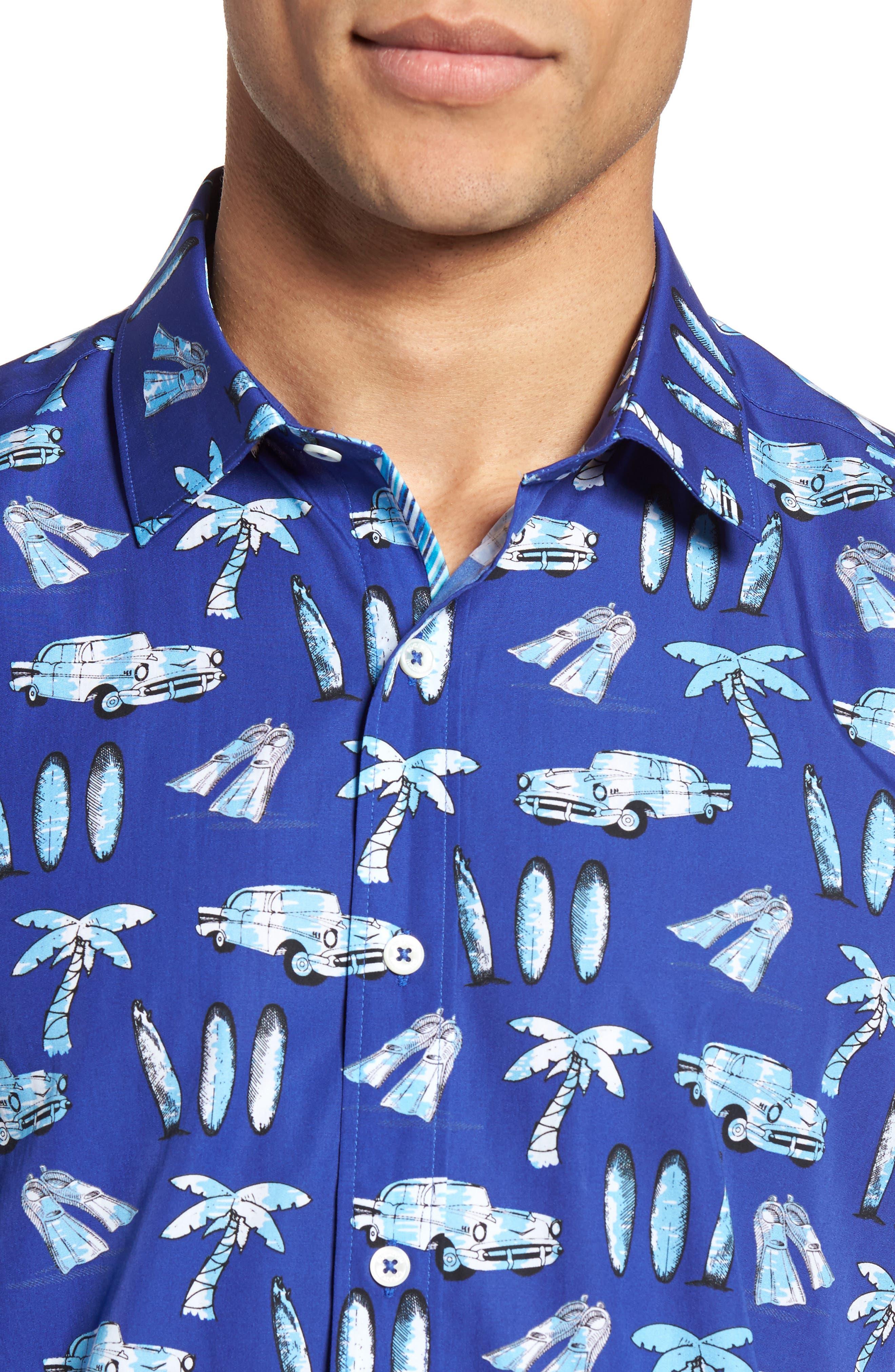 Shaped Fit Beach Print Sport Shirt,                             Alternate thumbnail 4, color,                             Navy
