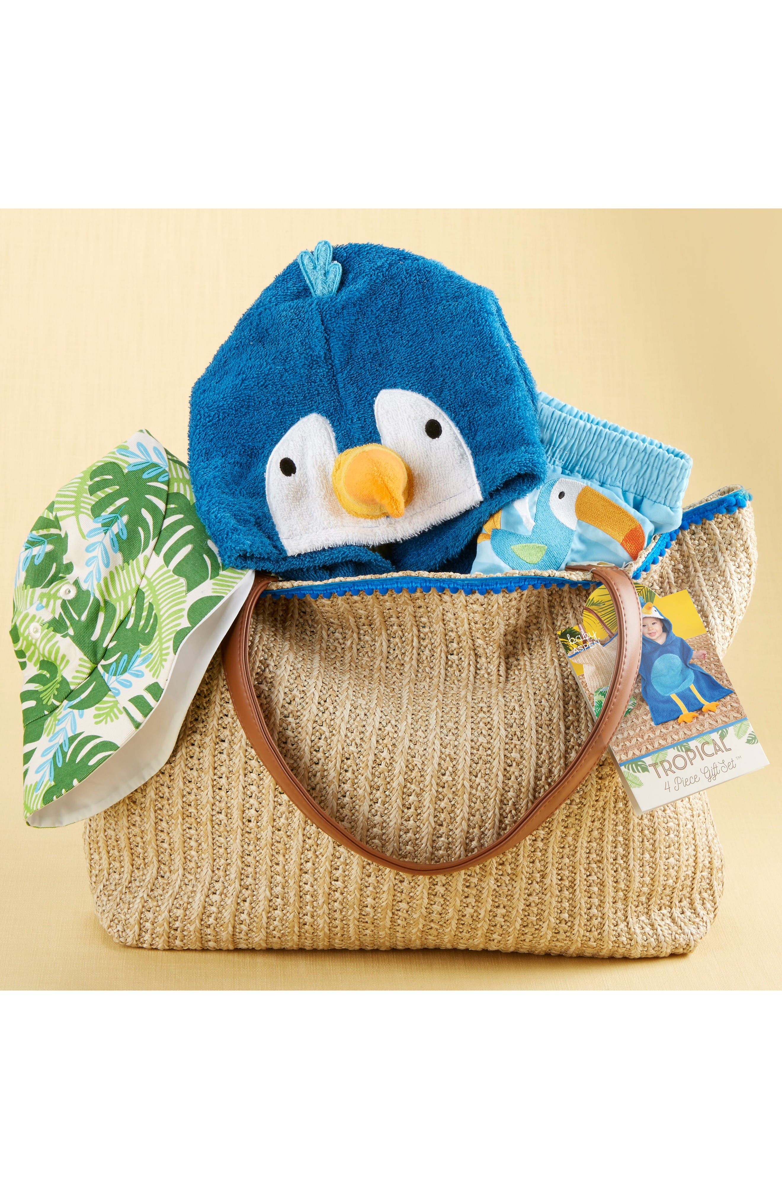 Alternate Image 4  - Baby Aspen Tropical Hooded Towel, Swimsuit, Sun Hat & Tote Set (Baby)