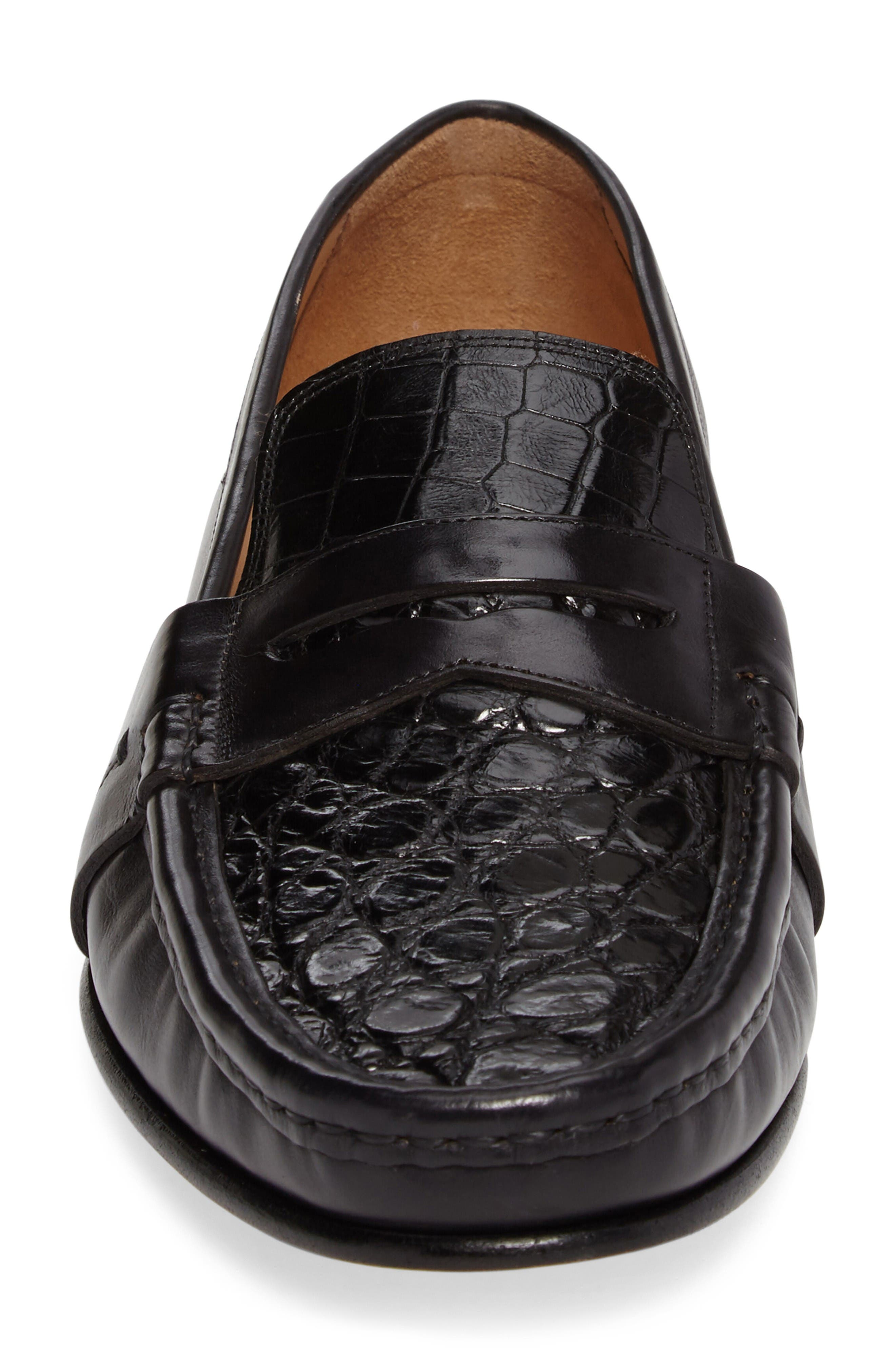 Marconi Penny Loafer,                             Alternate thumbnail 4, color,                             Black Leather