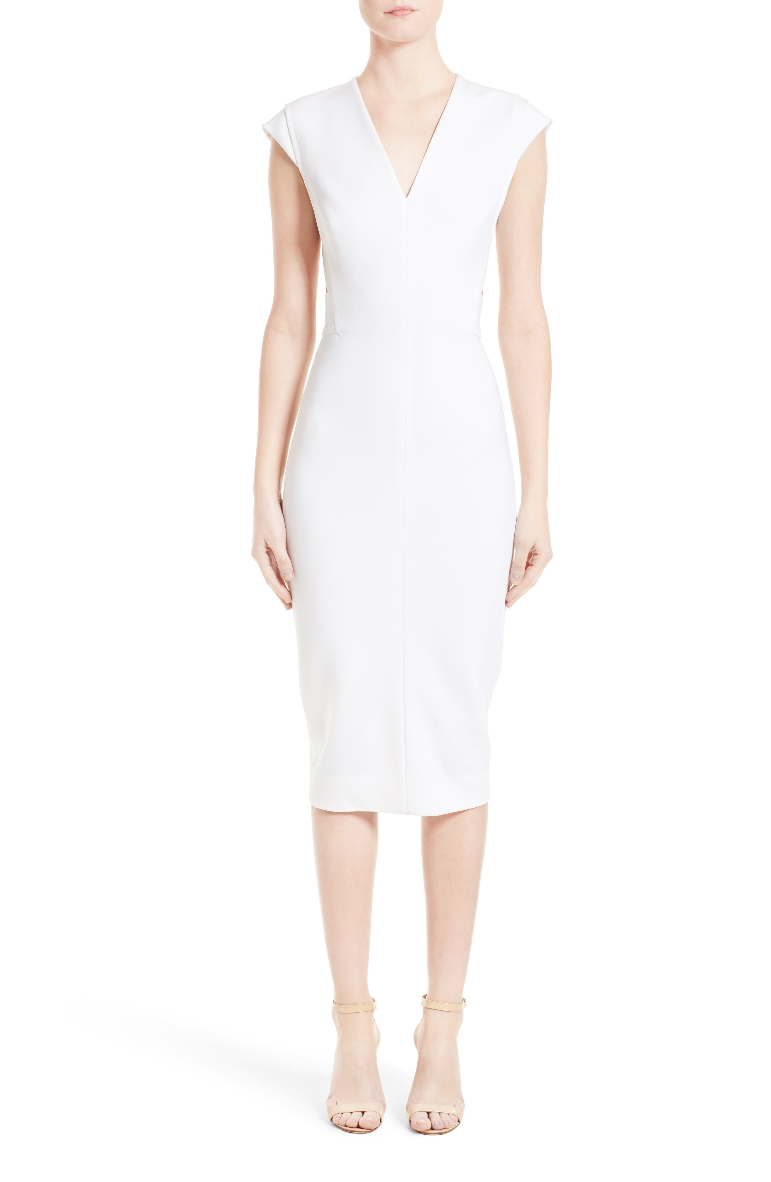 Victoria Beckham Open Back Rib Jersey Dress
