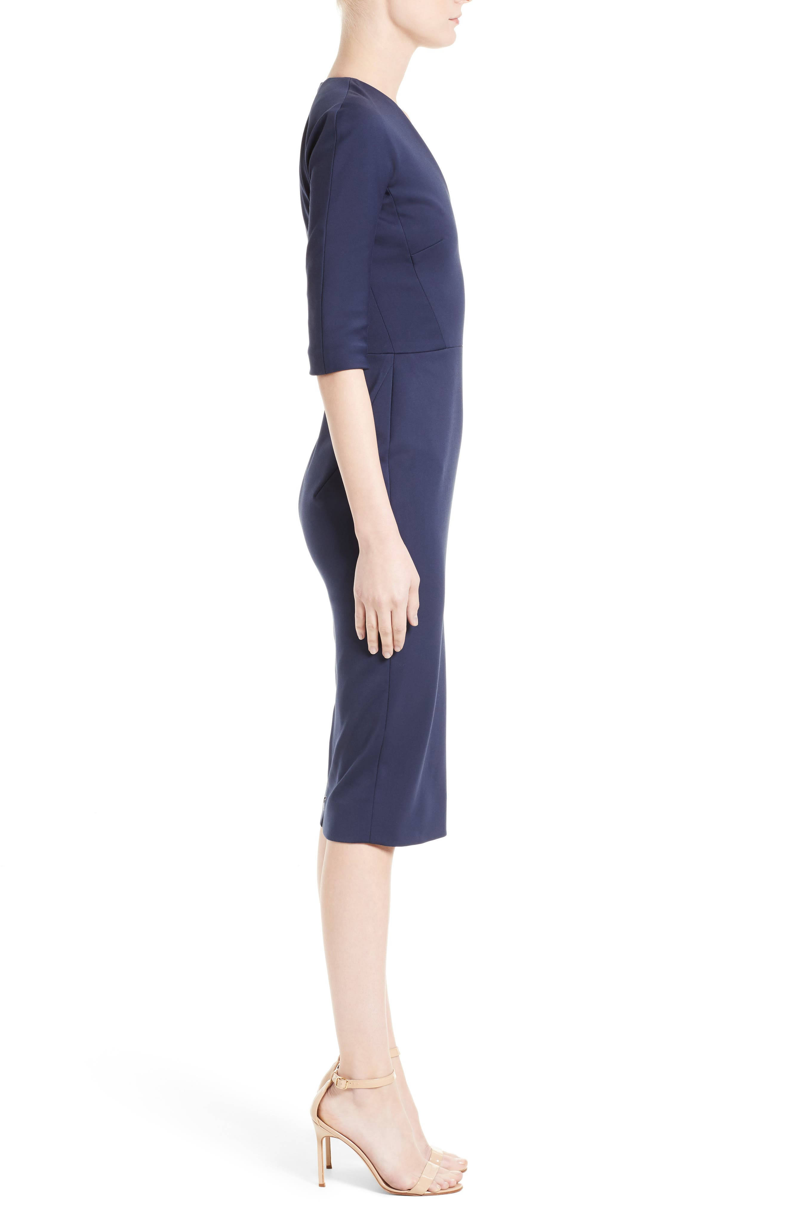 Cotton Blend Sheath Dress,                             Alternate thumbnail 4, color,                             Navy