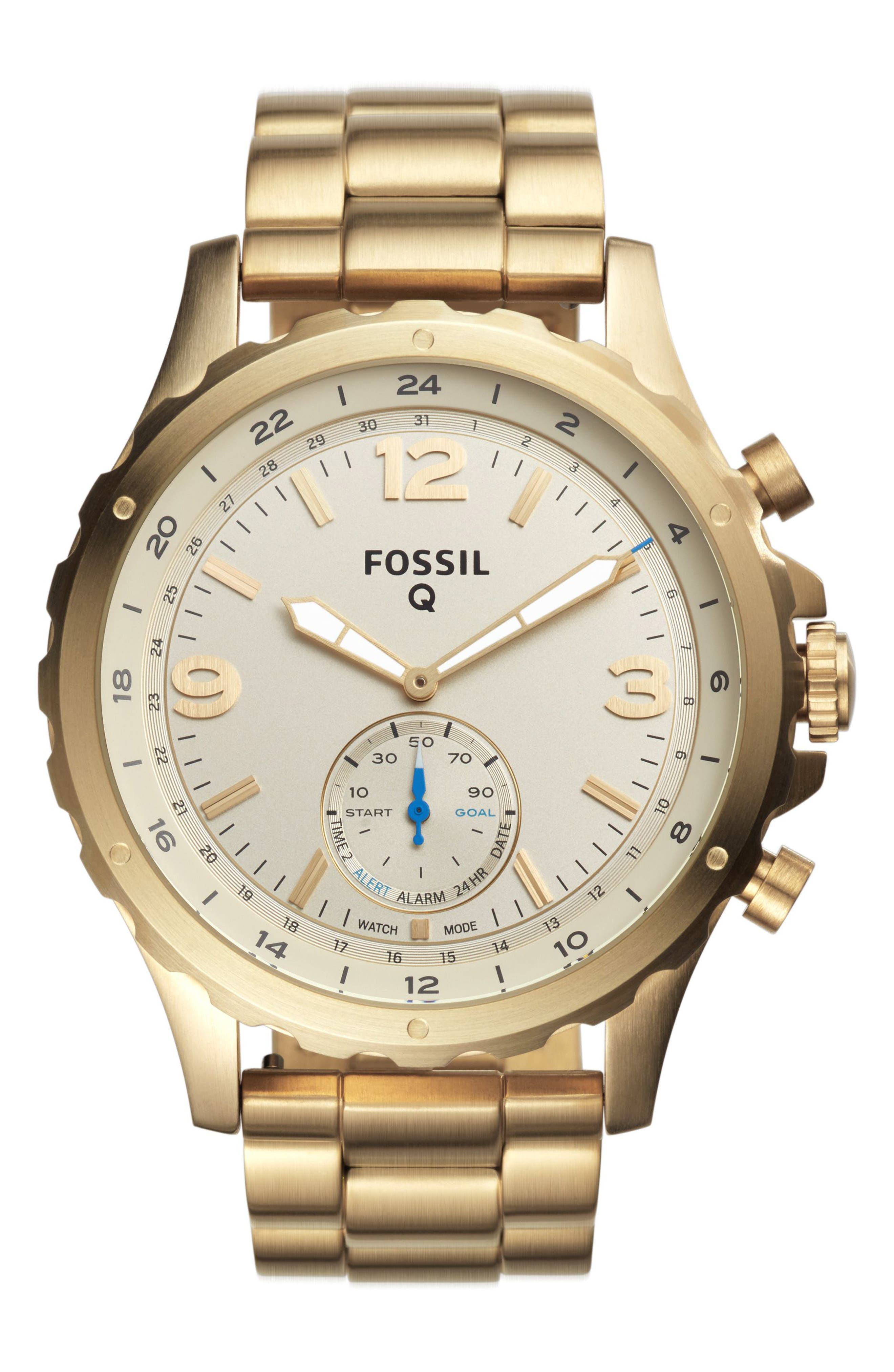 Alternate Image 1 Selected - Fossil Q Nate Bracelet Hybrid Smart Watch, 50mm