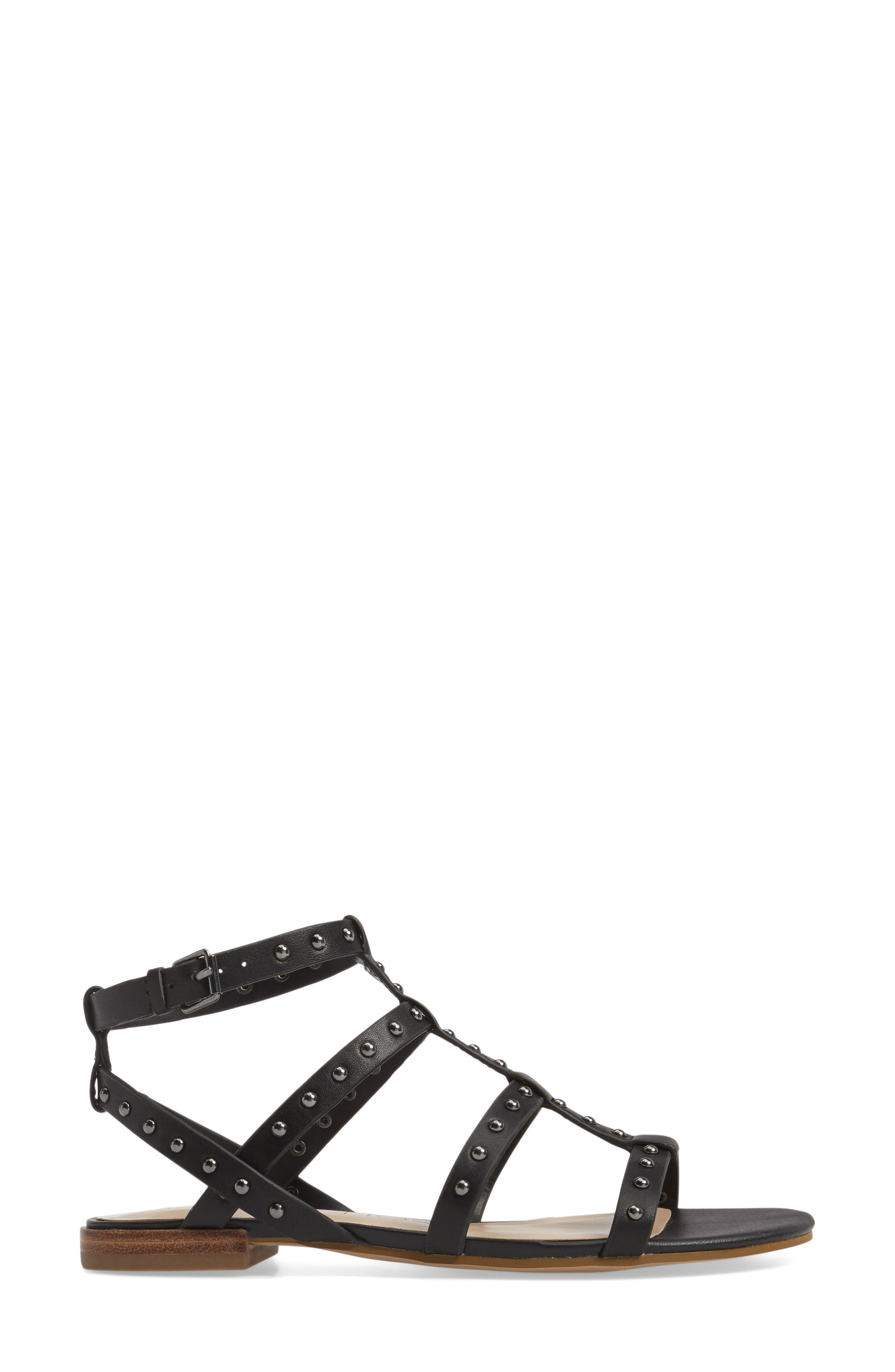 Celine Sandal,                             Alternate thumbnail 3, color,                             Black Leather