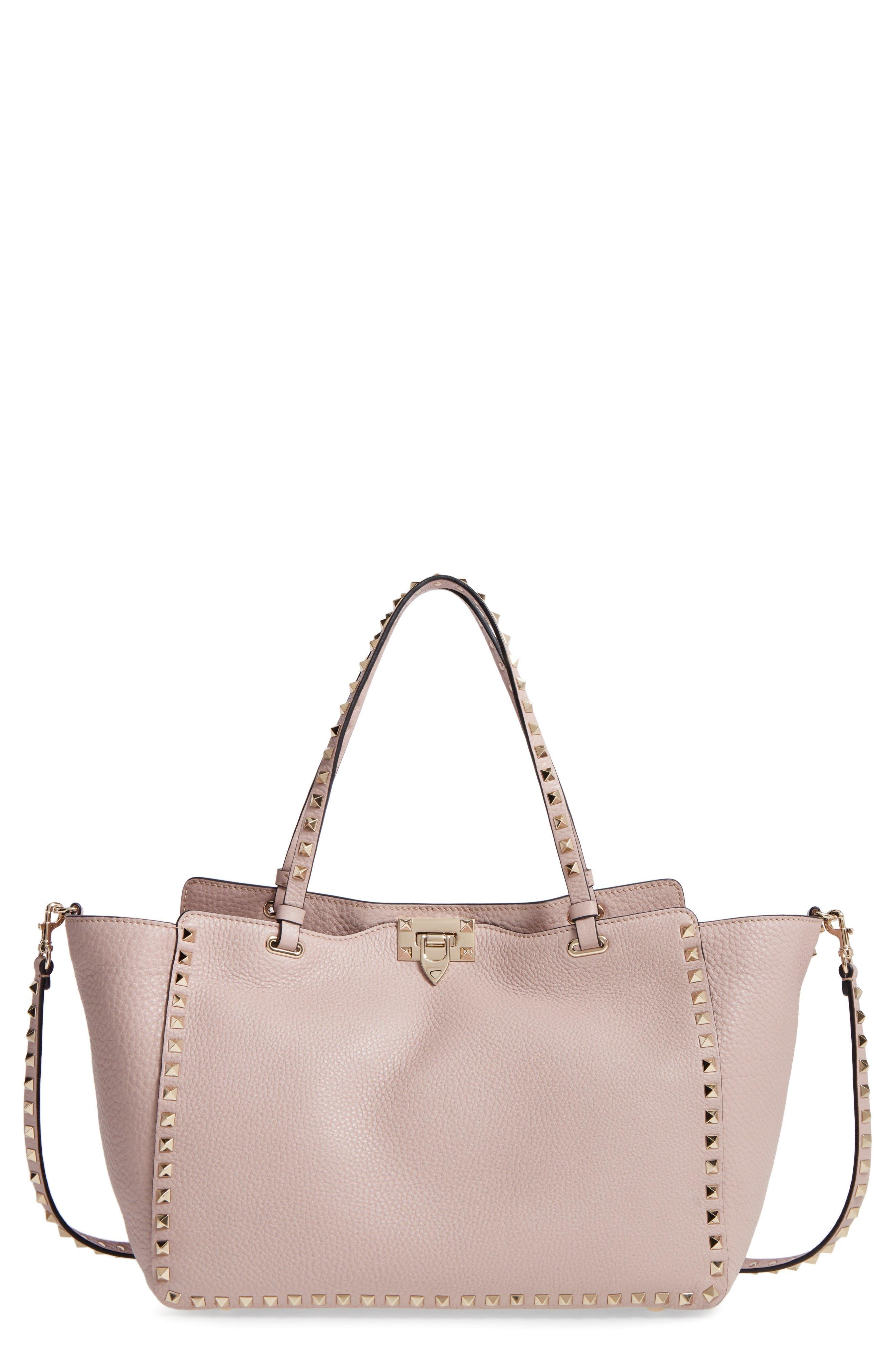 Valentino Rockstud Mini Vitello Leather Tote Bag pAZST