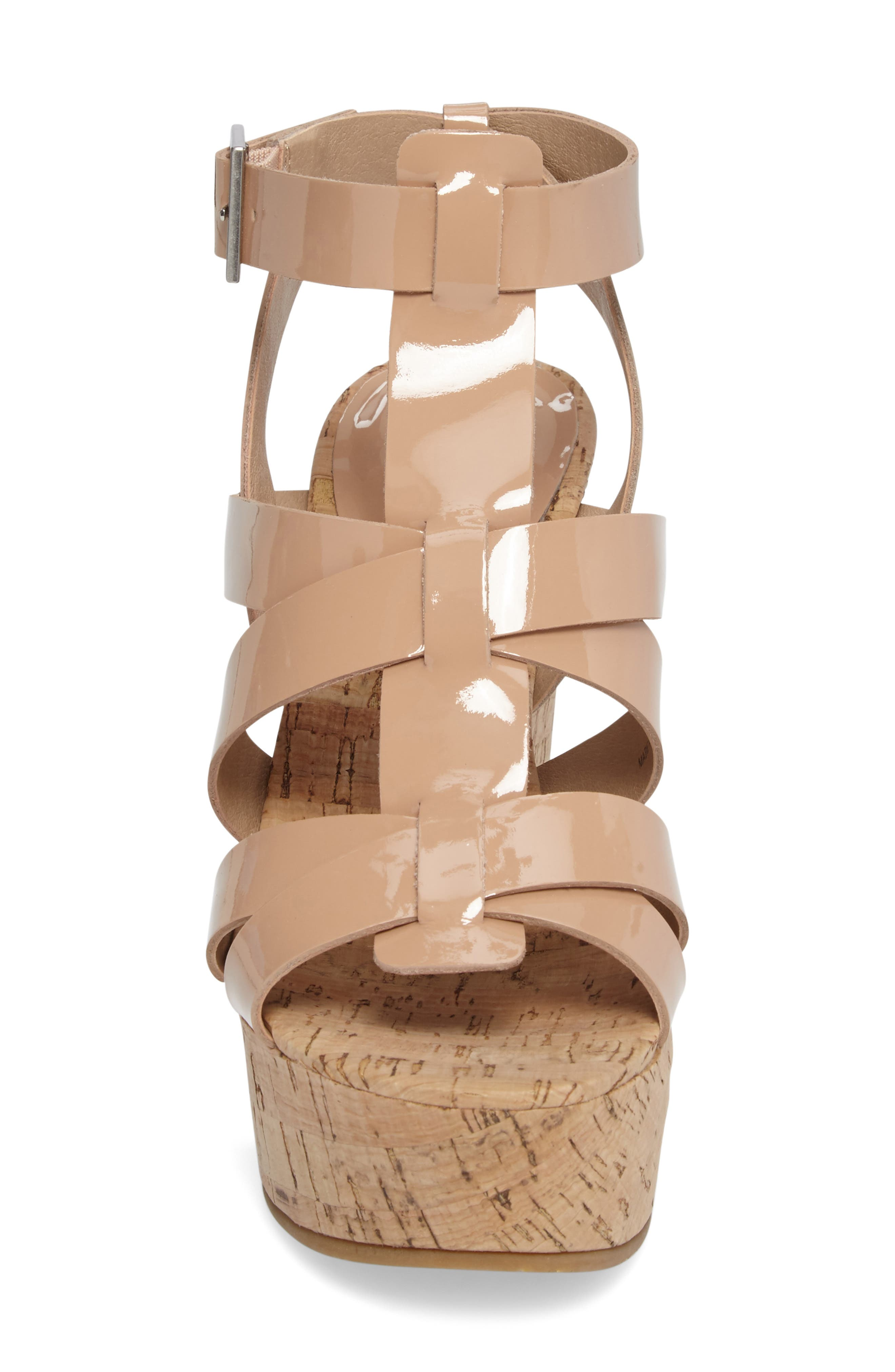 Rayjay Wedge Sandal,                             Alternate thumbnail 4, color,                             Blush Leather