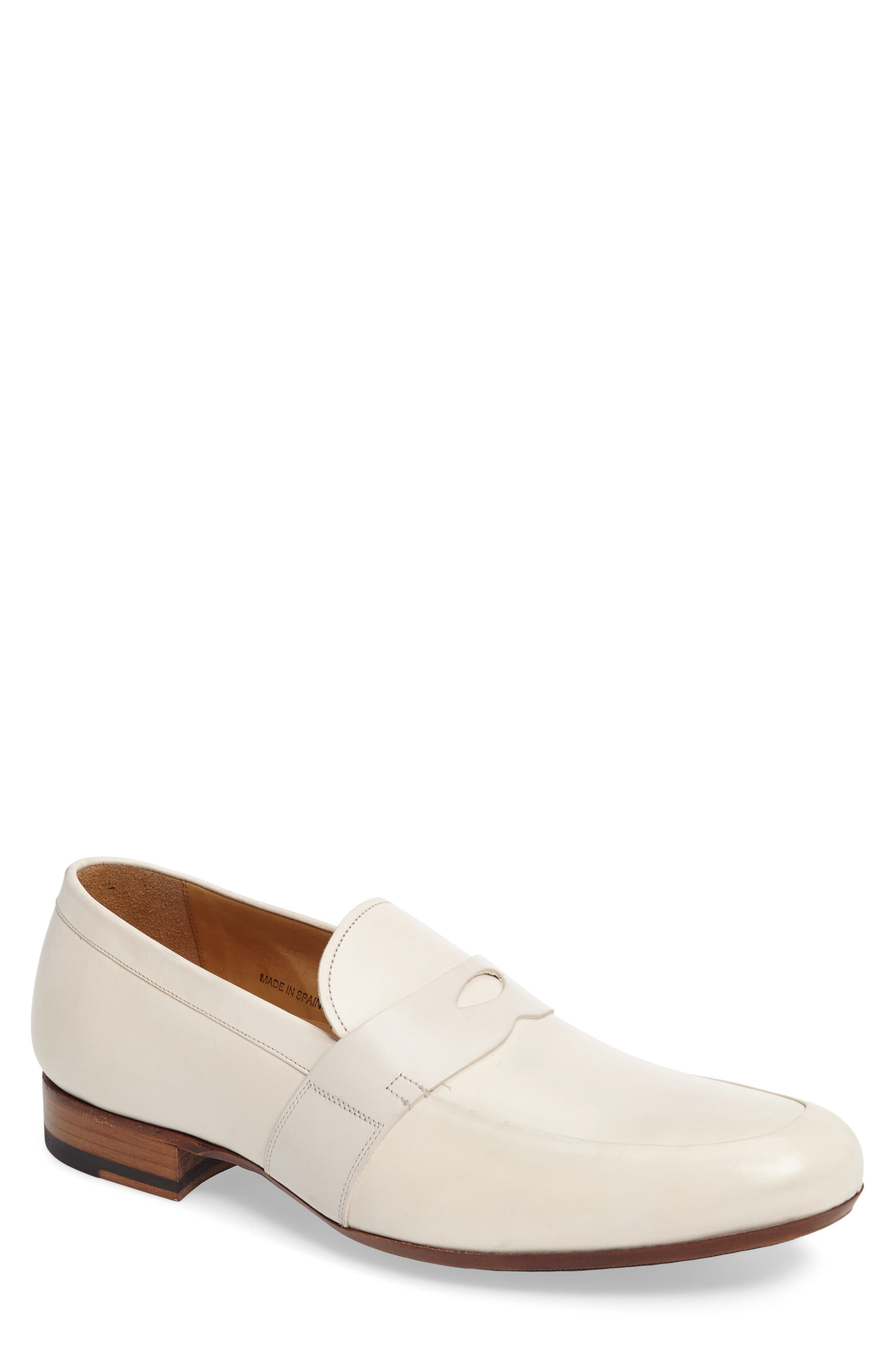 Leopold Penny Loafer,                         Main,                         color, Bone Leather