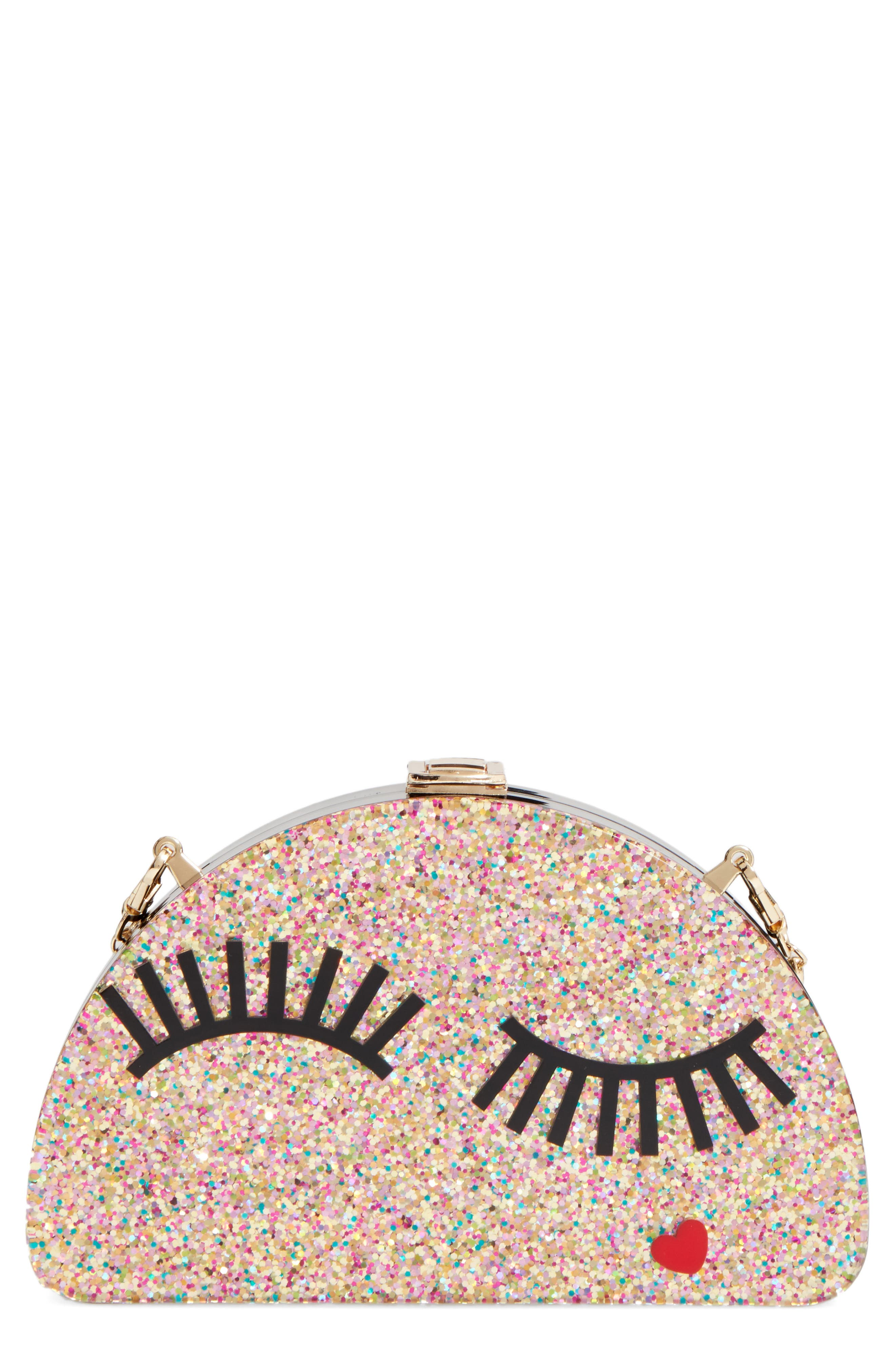 Alternate Image 1 Selected - Milly Eyelash Glitter Half Moon Clutch