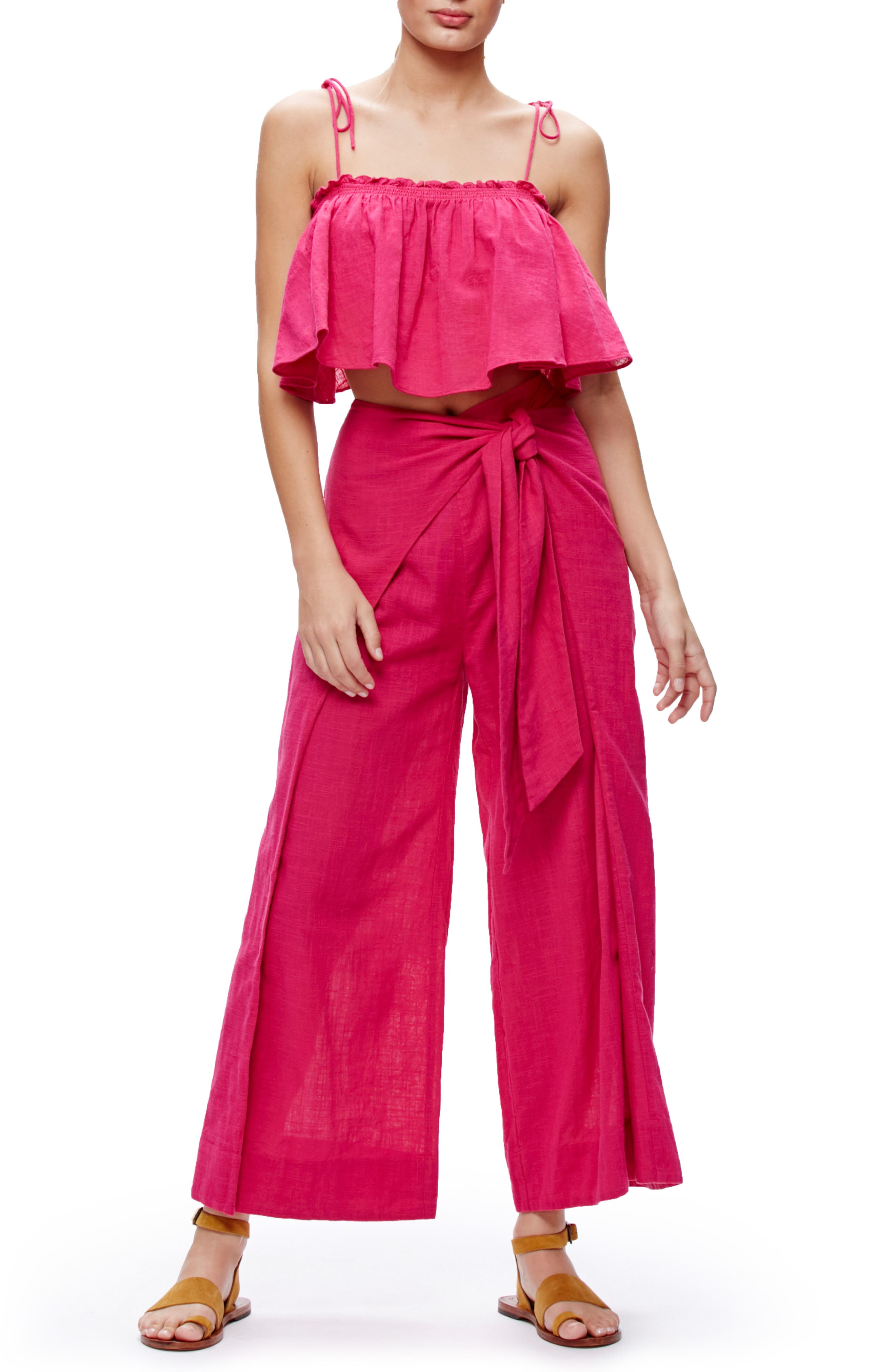 Tropic Babe Crop Top & High Waist Pants Set,                         Main,                         color, Dark Pink