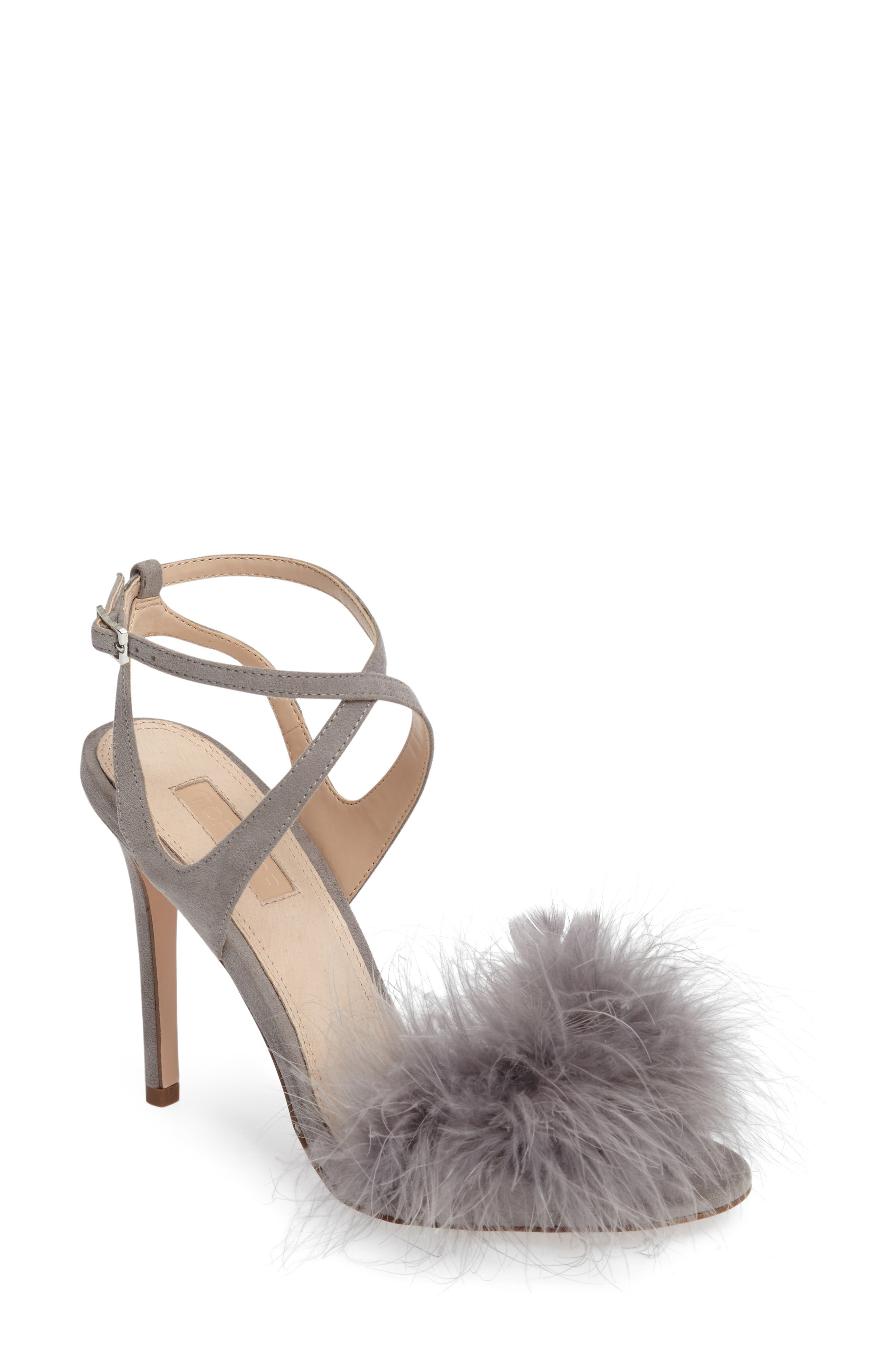 Reine Feathered Sandal,                         Main,                         color, Grey