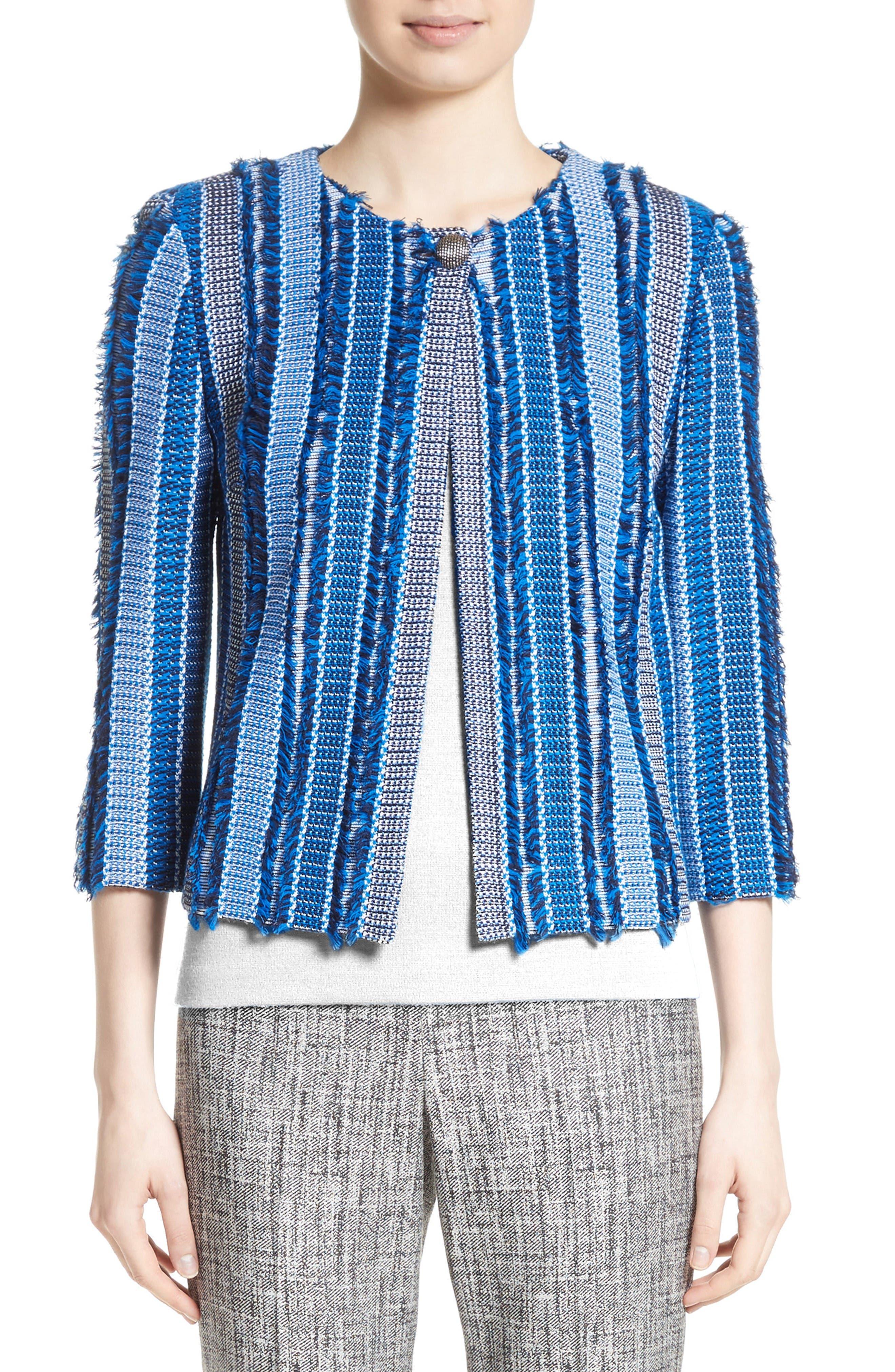 Damik Fil Coupé Knit Jacket,                             Main thumbnail 1, color,                             Jaya Blue Multi