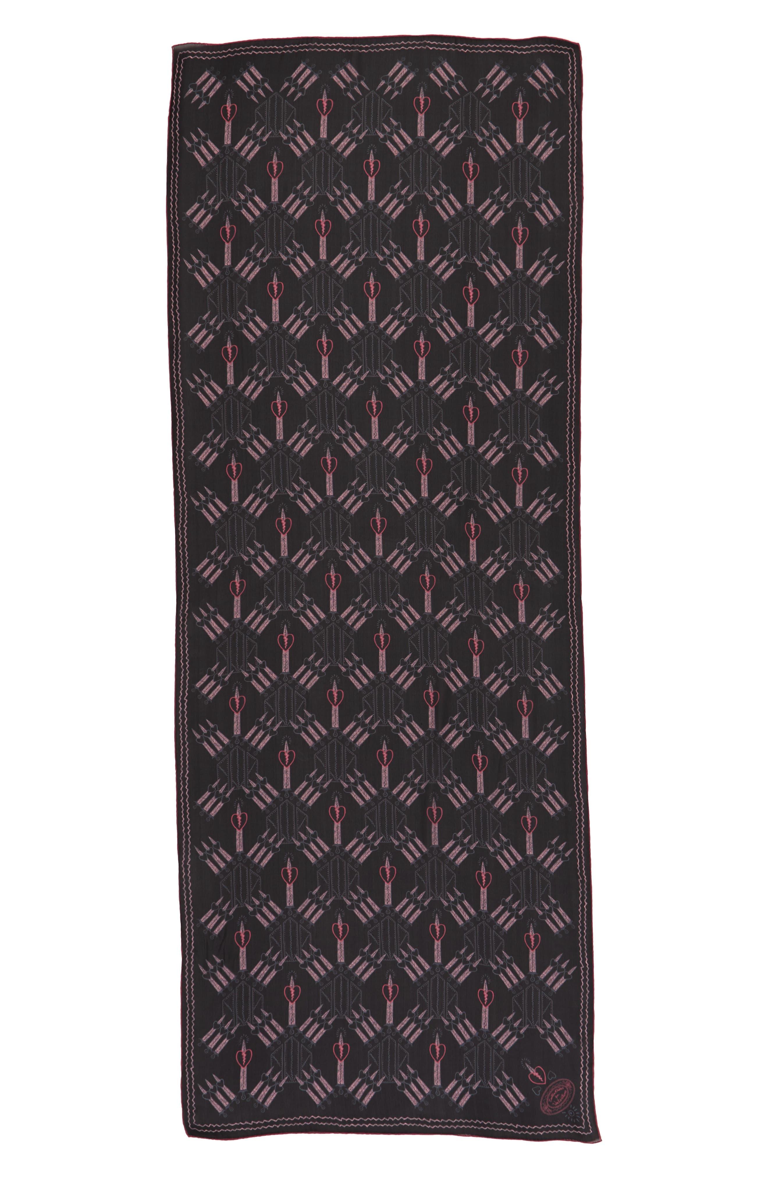 Loveblade Silk Scarf,                         Main,                         color, Nero