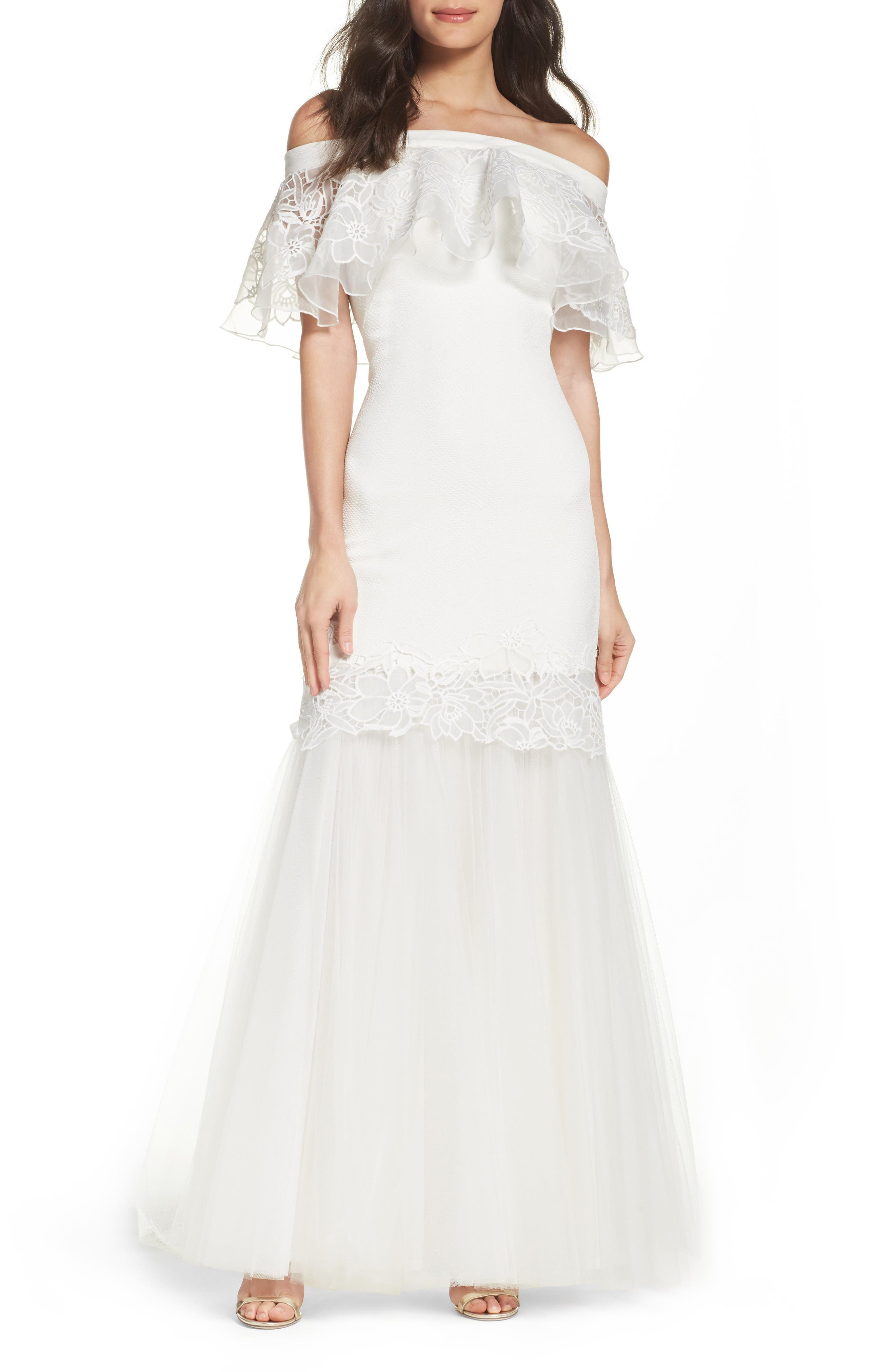 Off the Shoulder Mermaid Gown,                         Main,                         color, Ivory