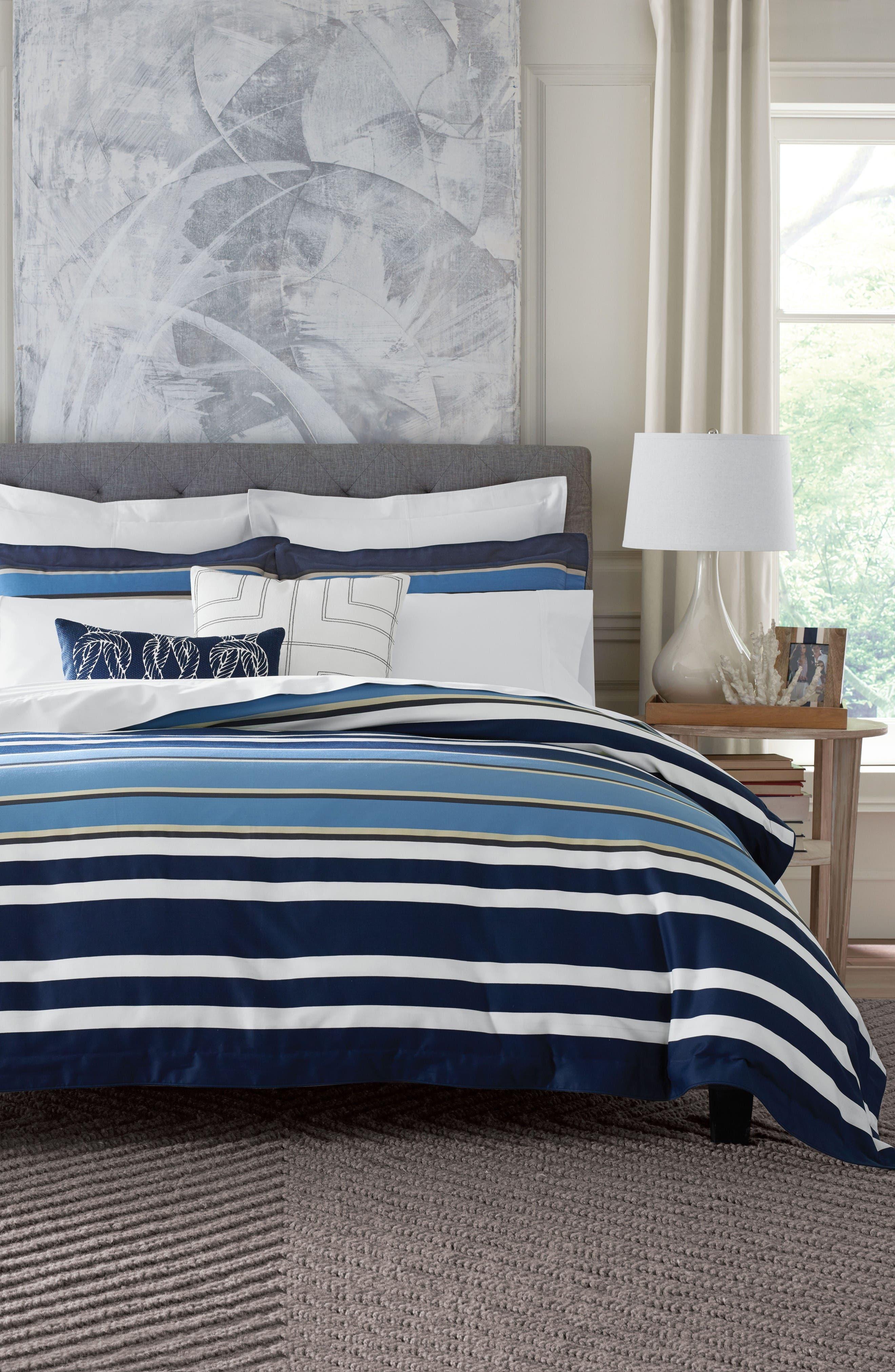 Robinson Stripe Duvet Cover & Sham Set,                             Main thumbnail 1, color,                             Blue