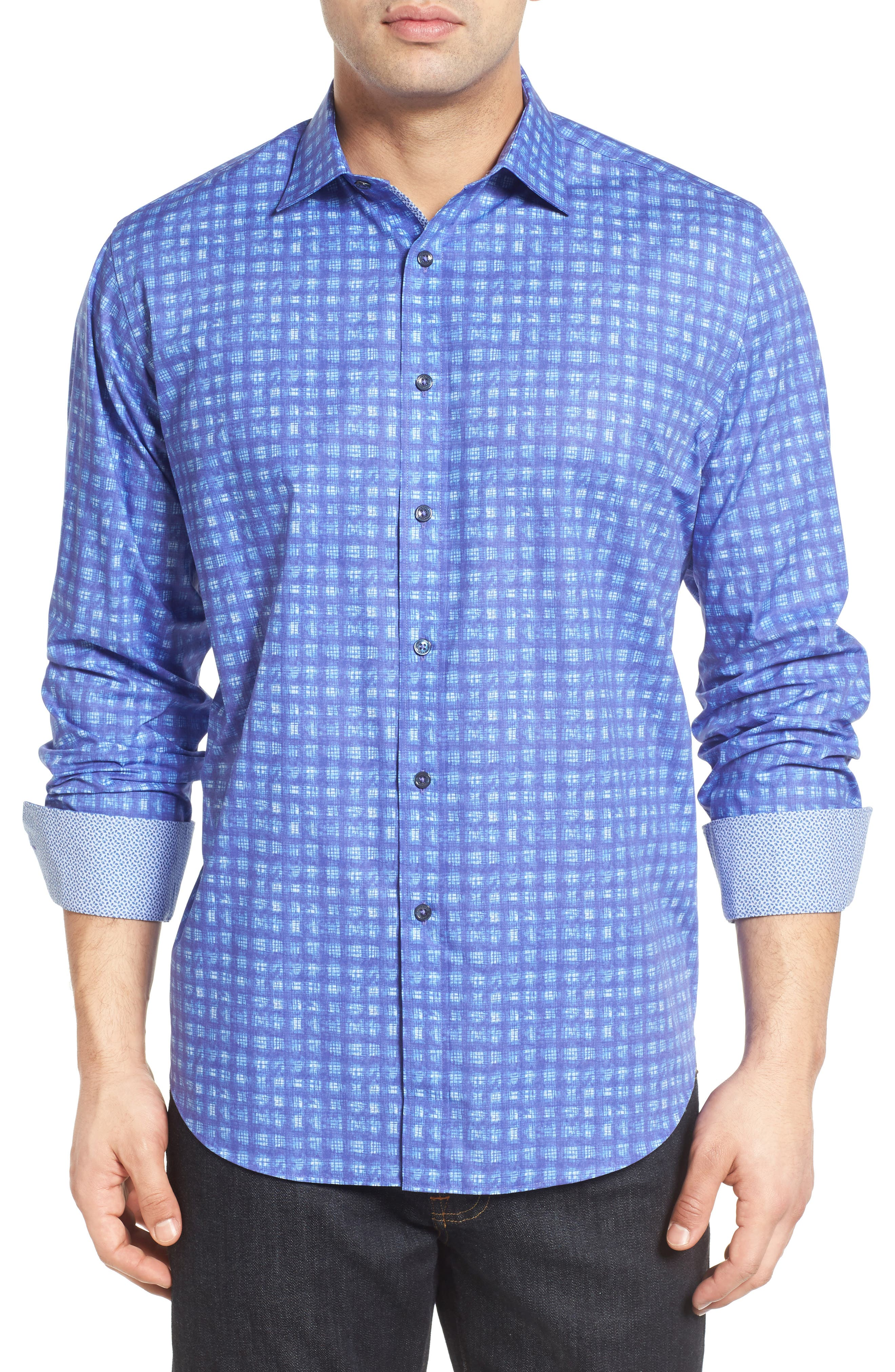 Classic Fit Sport Shirt,                         Main,                         color, Night Blue
