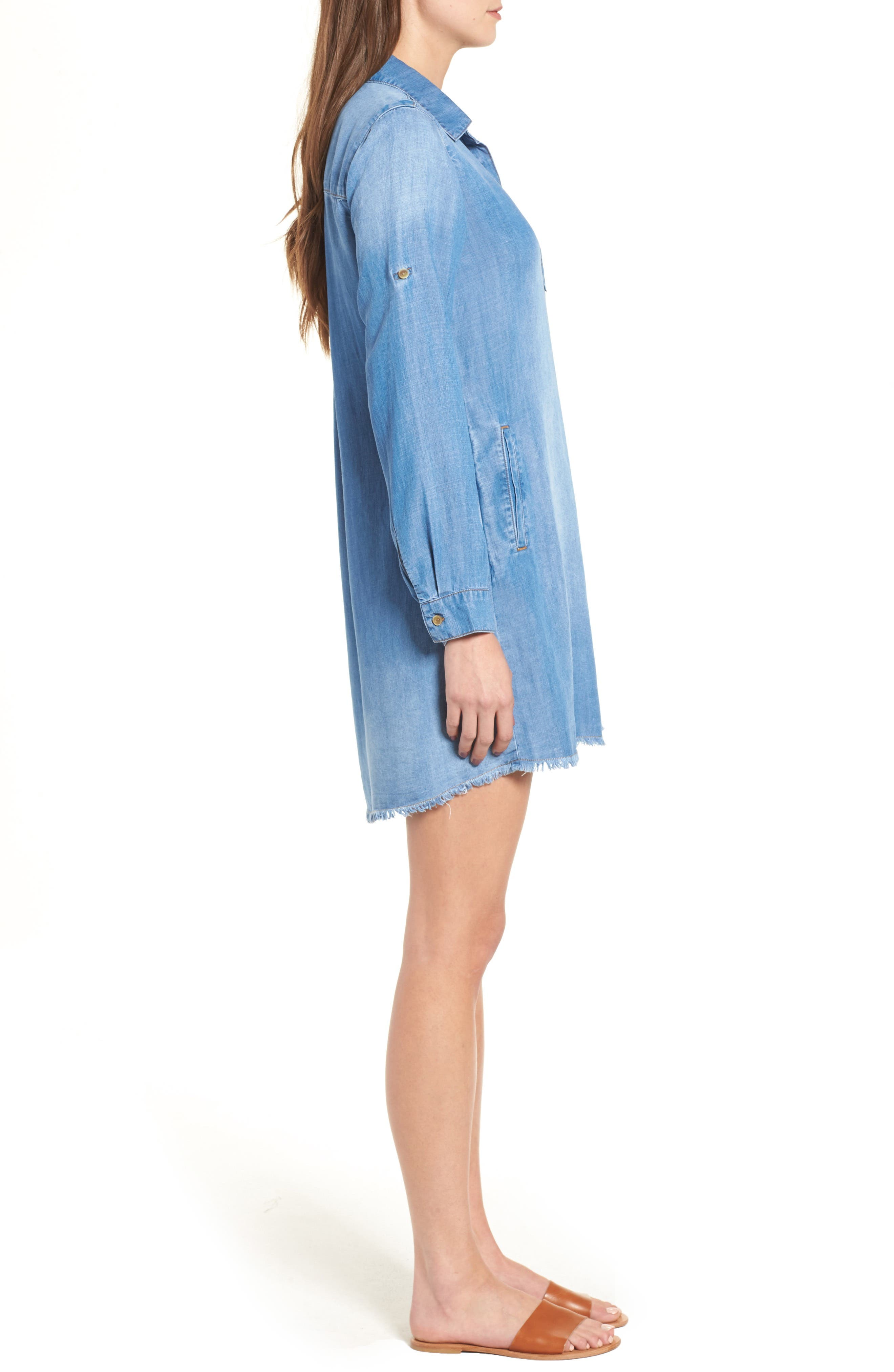 Alternate Image 3  - Side Stitch Frayed Hem Denim Shirtdress