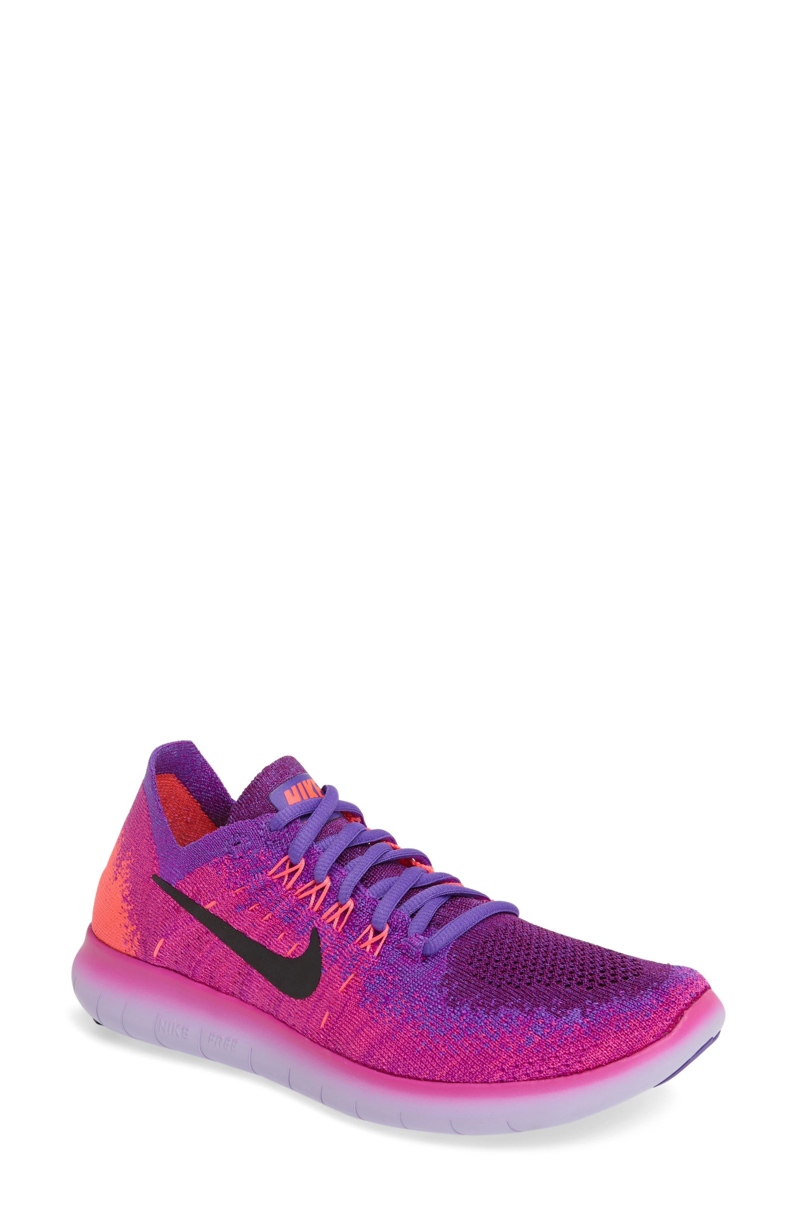 Free RN Flyknit 2 Running Shoe,                             Main thumbnail 1, color,                             Pink/ Black/ Hyper Grape