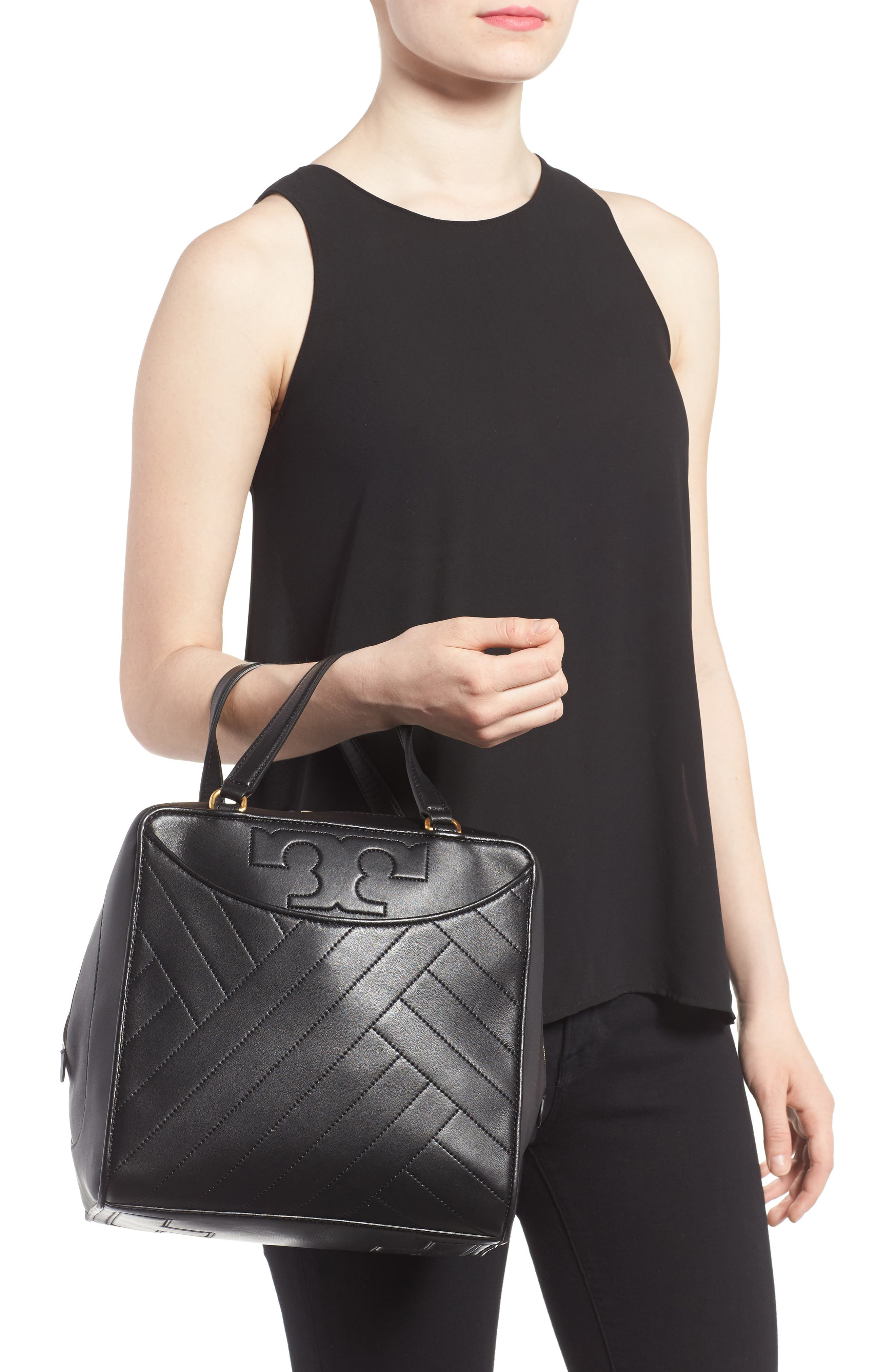 Alternate Image 2  - Tory Burch Chevron Quilted Leather Satchel