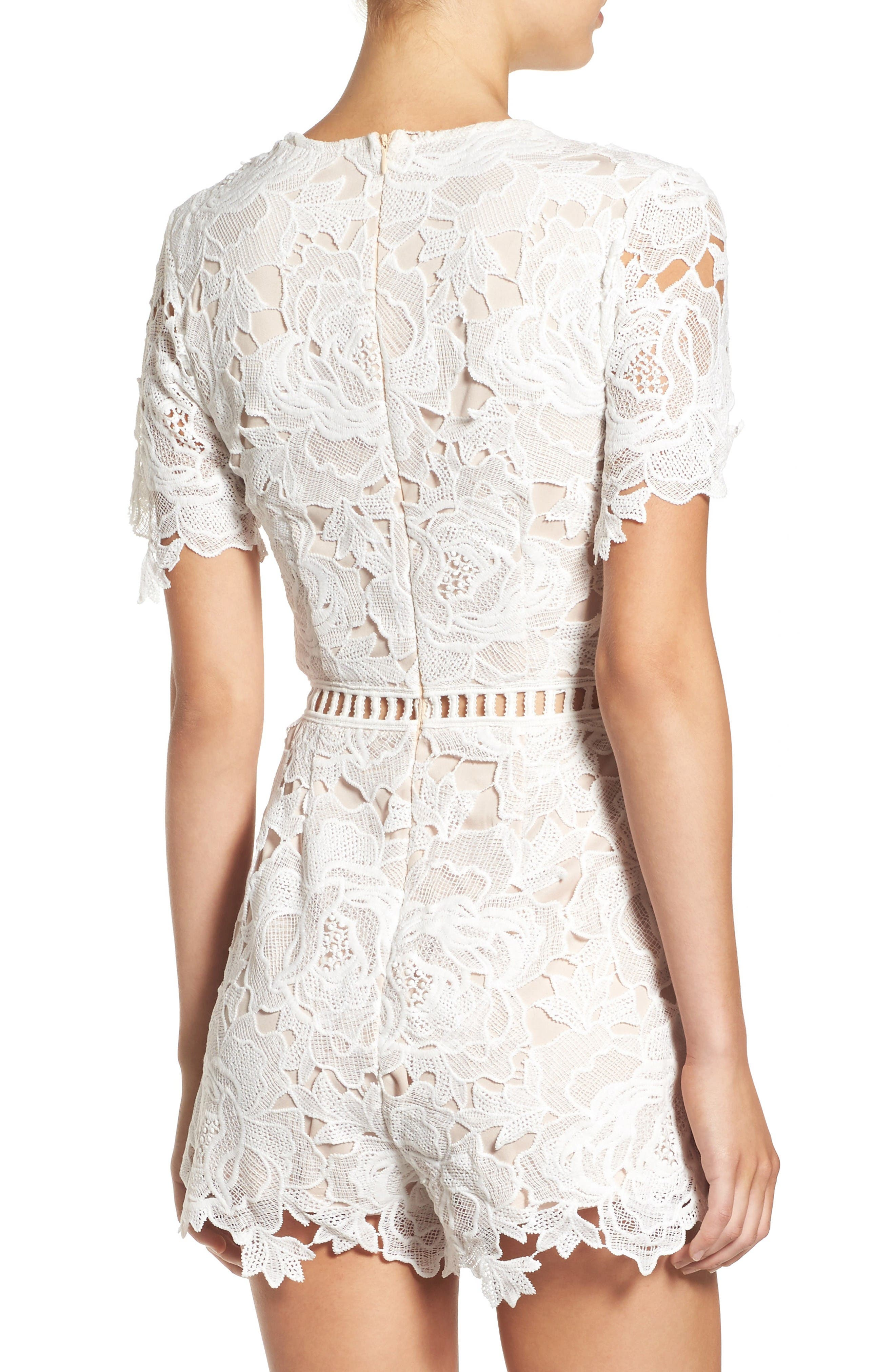 Ladder Inset Lace Romper,                             Alternate thumbnail 3, color,                             White/ Nude
