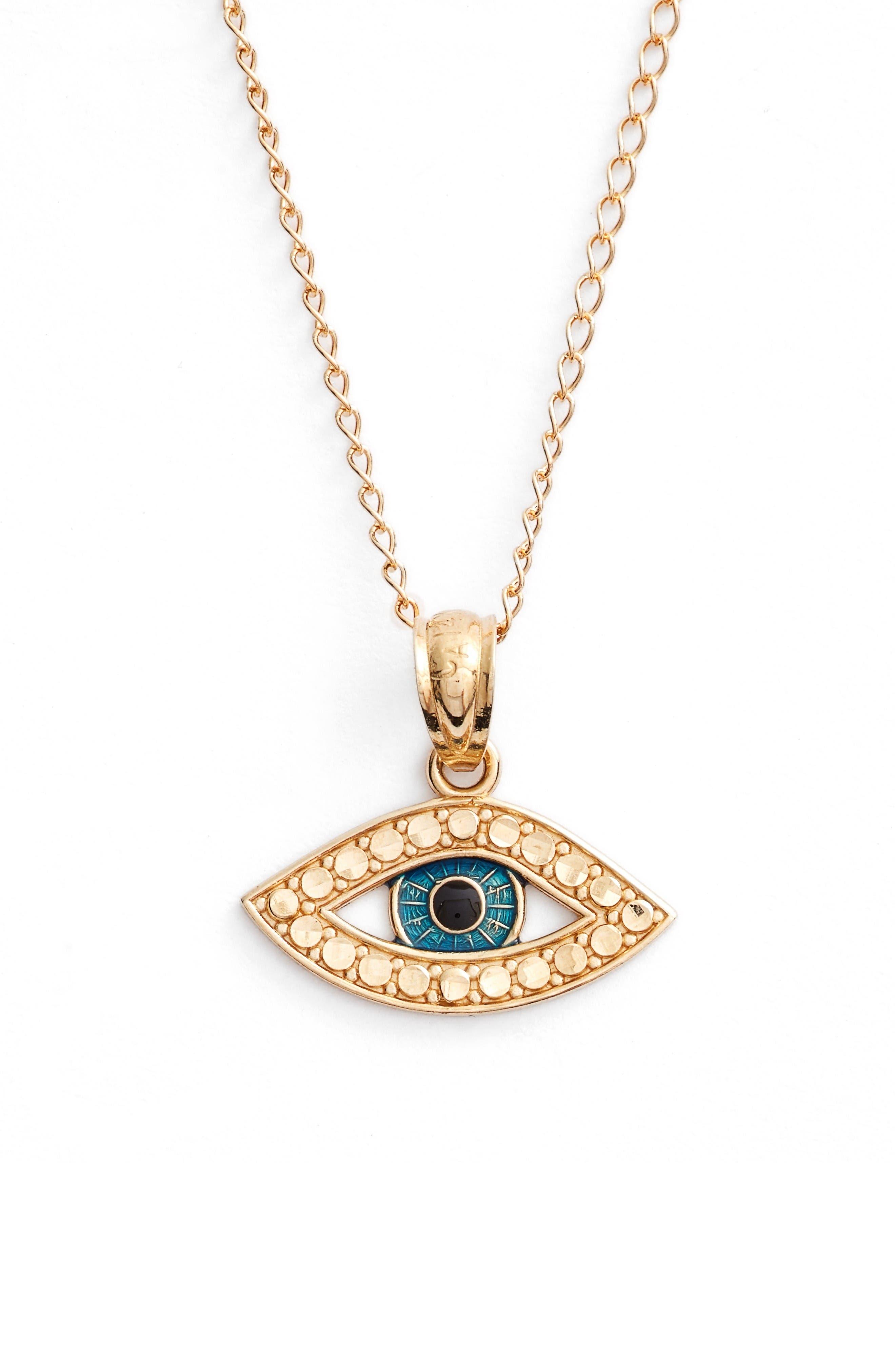 Alternate Image 2  - Kardee Kids Eye Pendant 14k Gold Necklace (Girls)