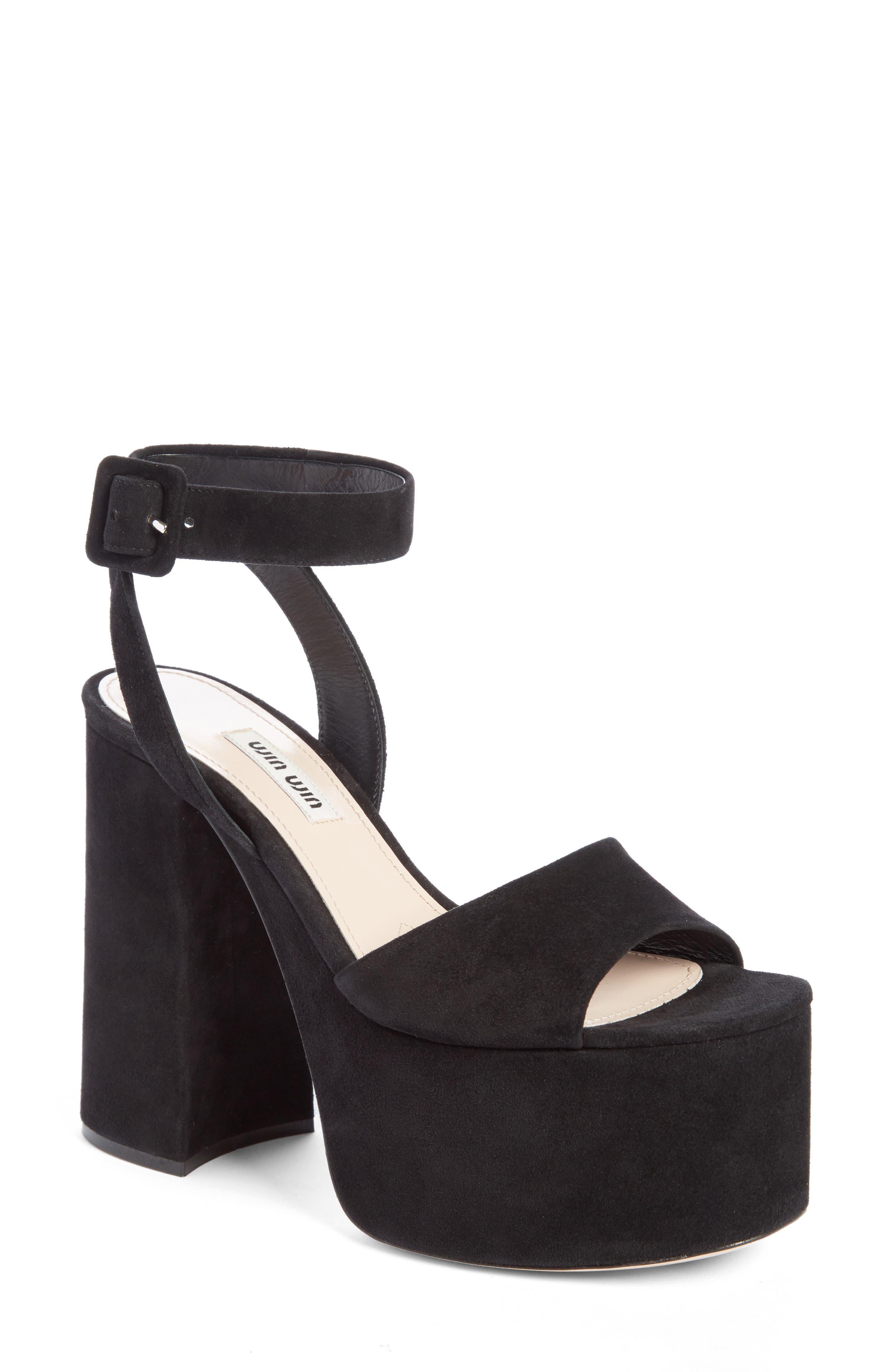 Miu Miu Platform Ankle Strap Sandal (Women)