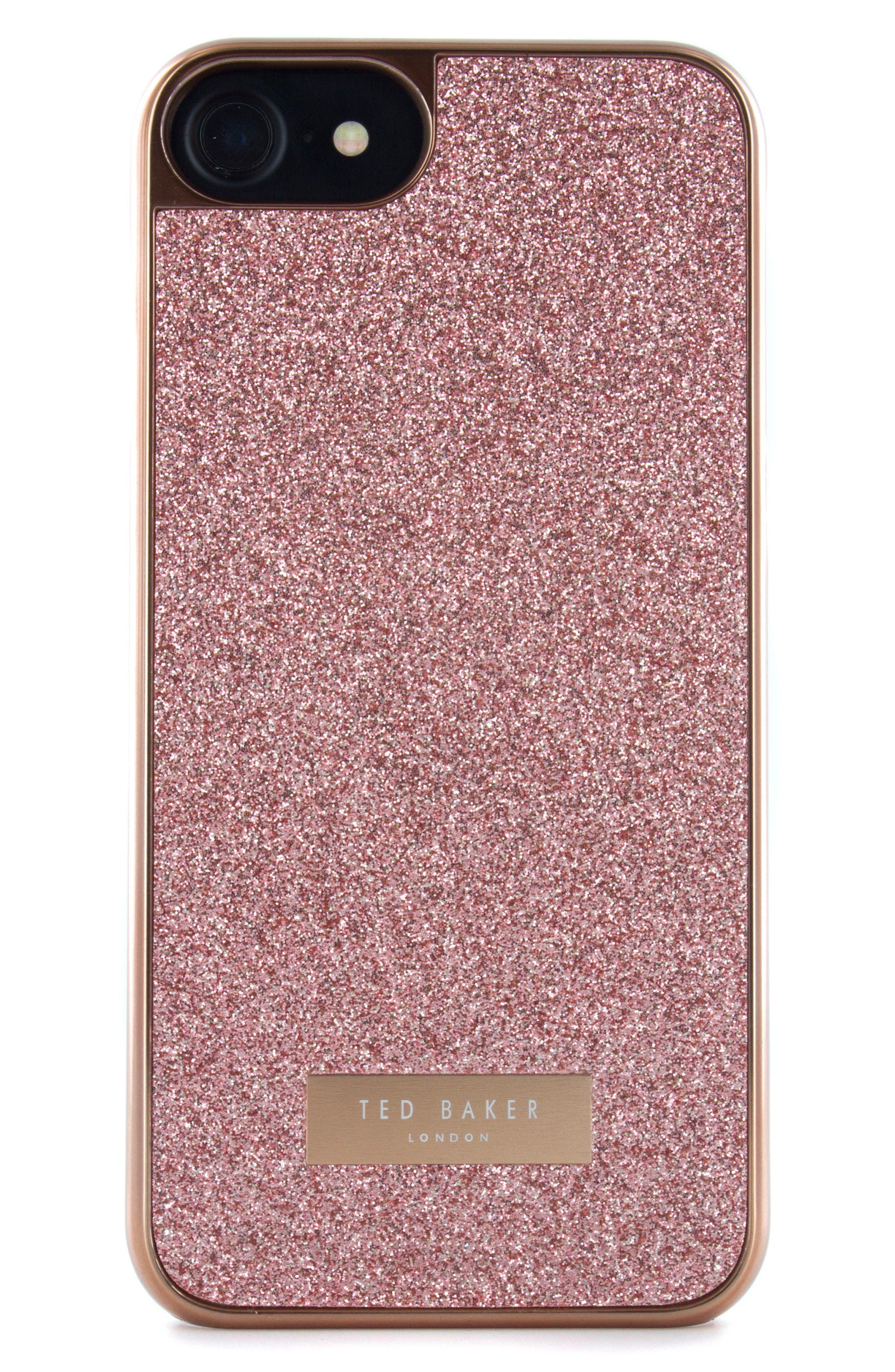 Sparkles iPhone 6/6s/7/8 & 6/6s/7/8 Plus Case,                         Main,                         color, Rose Gold