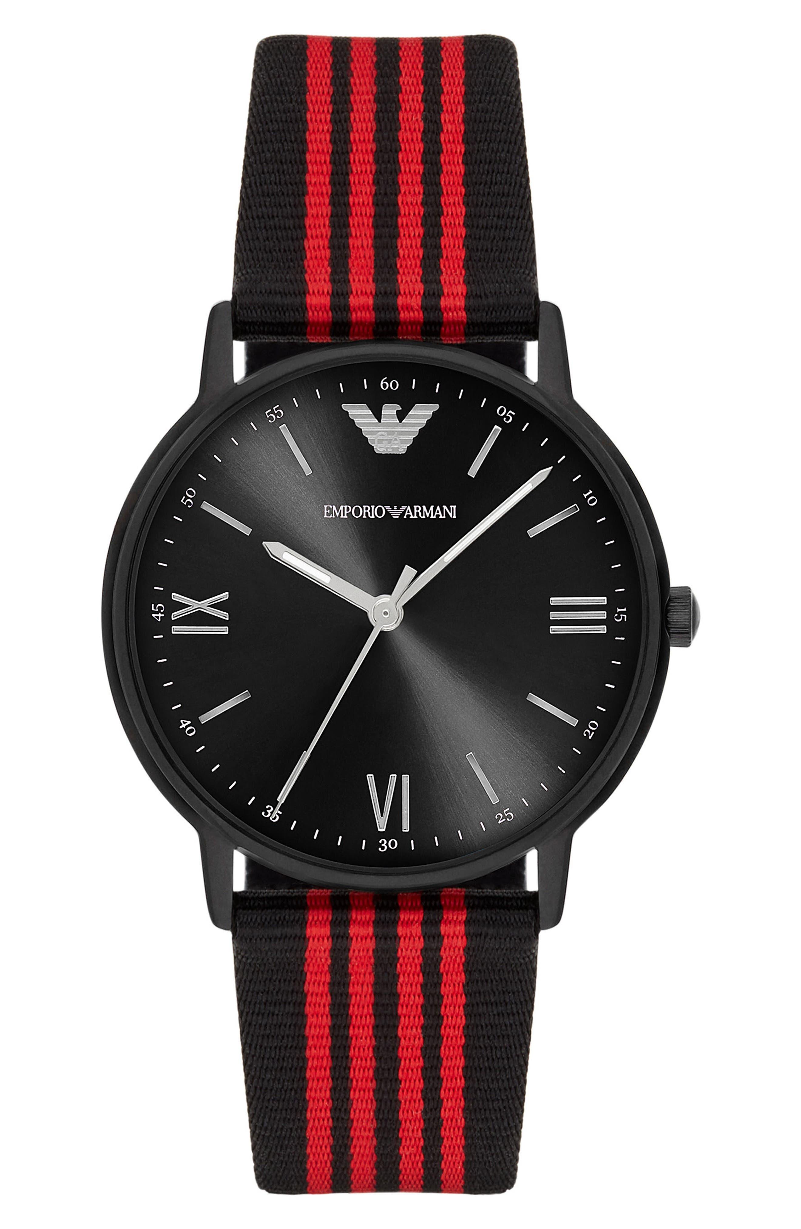 Alternate Image 1 Selected - Emporio Armani NATO Stripe Strap Watch, 43mm