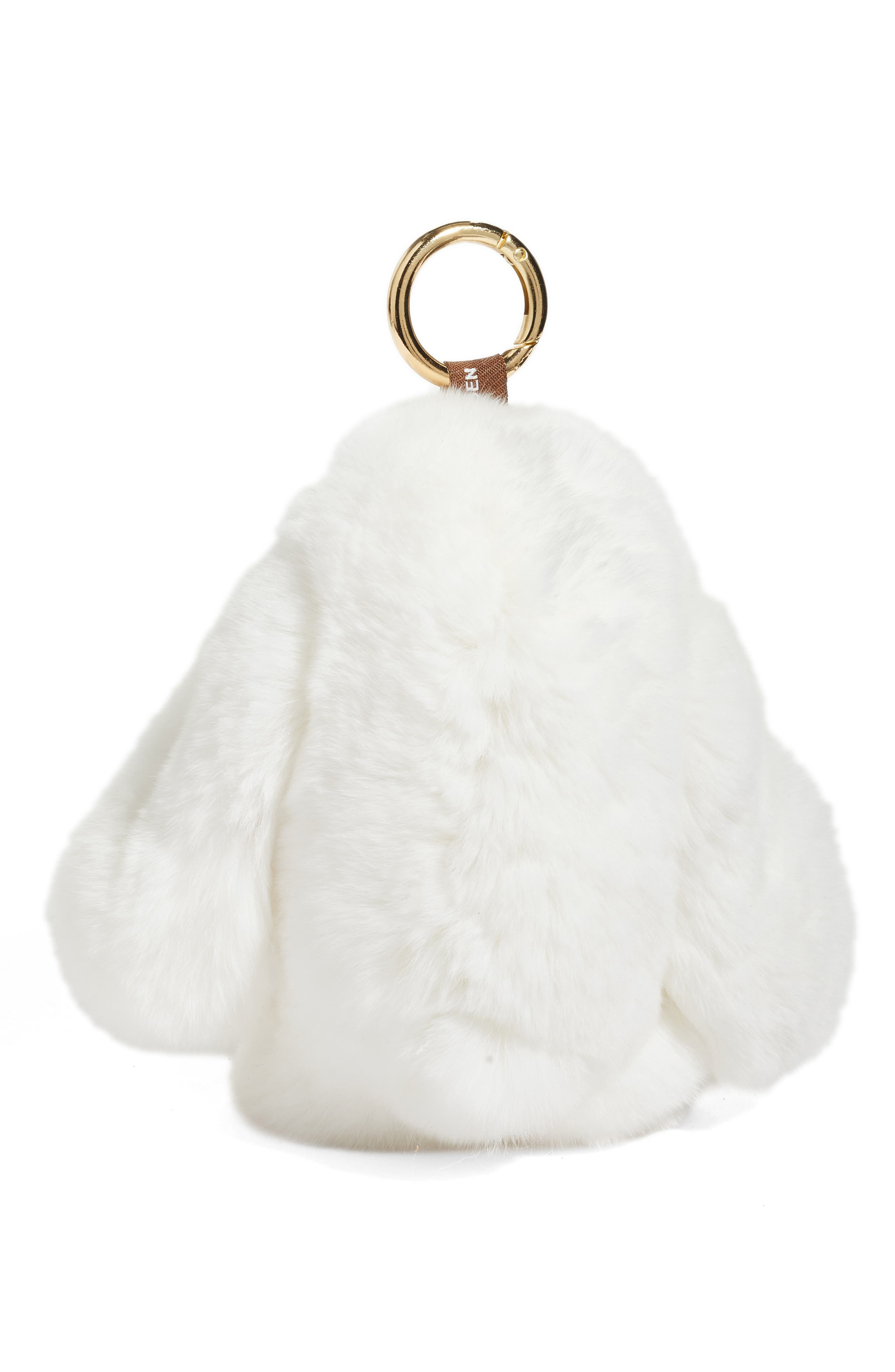 Natasha Couture Genuine Rabbit Fur Bag Charm,                             Alternate thumbnail 2, color,                             White