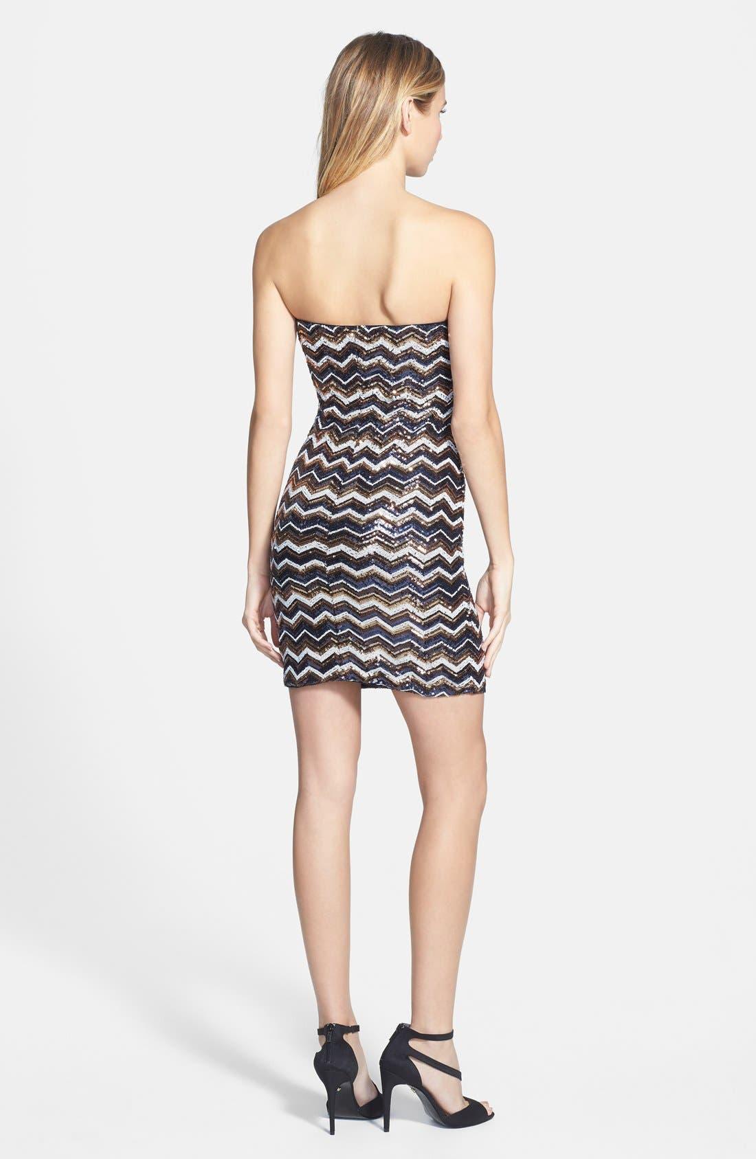 Alternate Image 2  - As U Wish Sequin Chevron Strapless Body-Con Dress