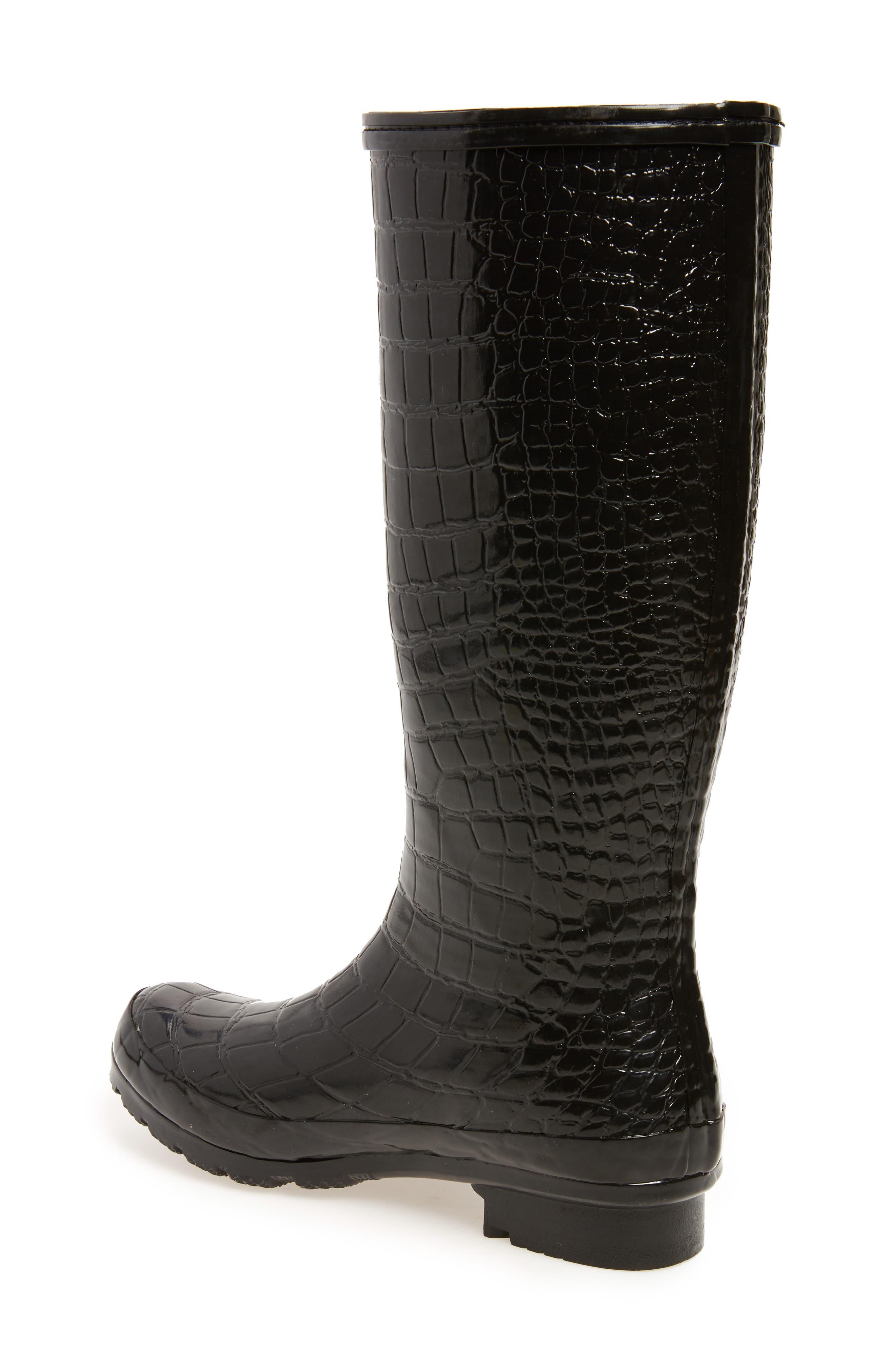 Classic Glossy Rain Boot,                             Alternate thumbnail 2, color,                             Black Croc