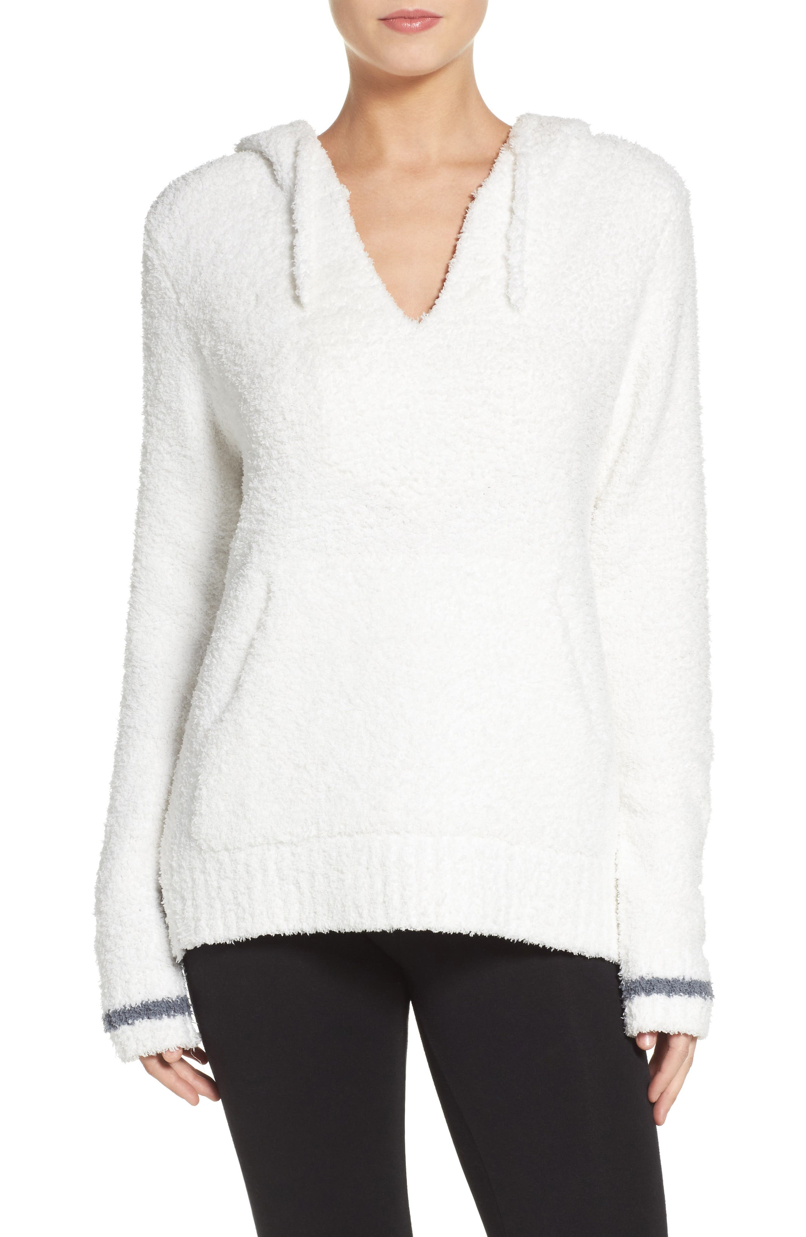 Barefoot Dreams Cozychic<sup>®</sup> Baha Lounge Hoodie,                             Main thumbnail 1, color,                             White/ Graphite Stripe